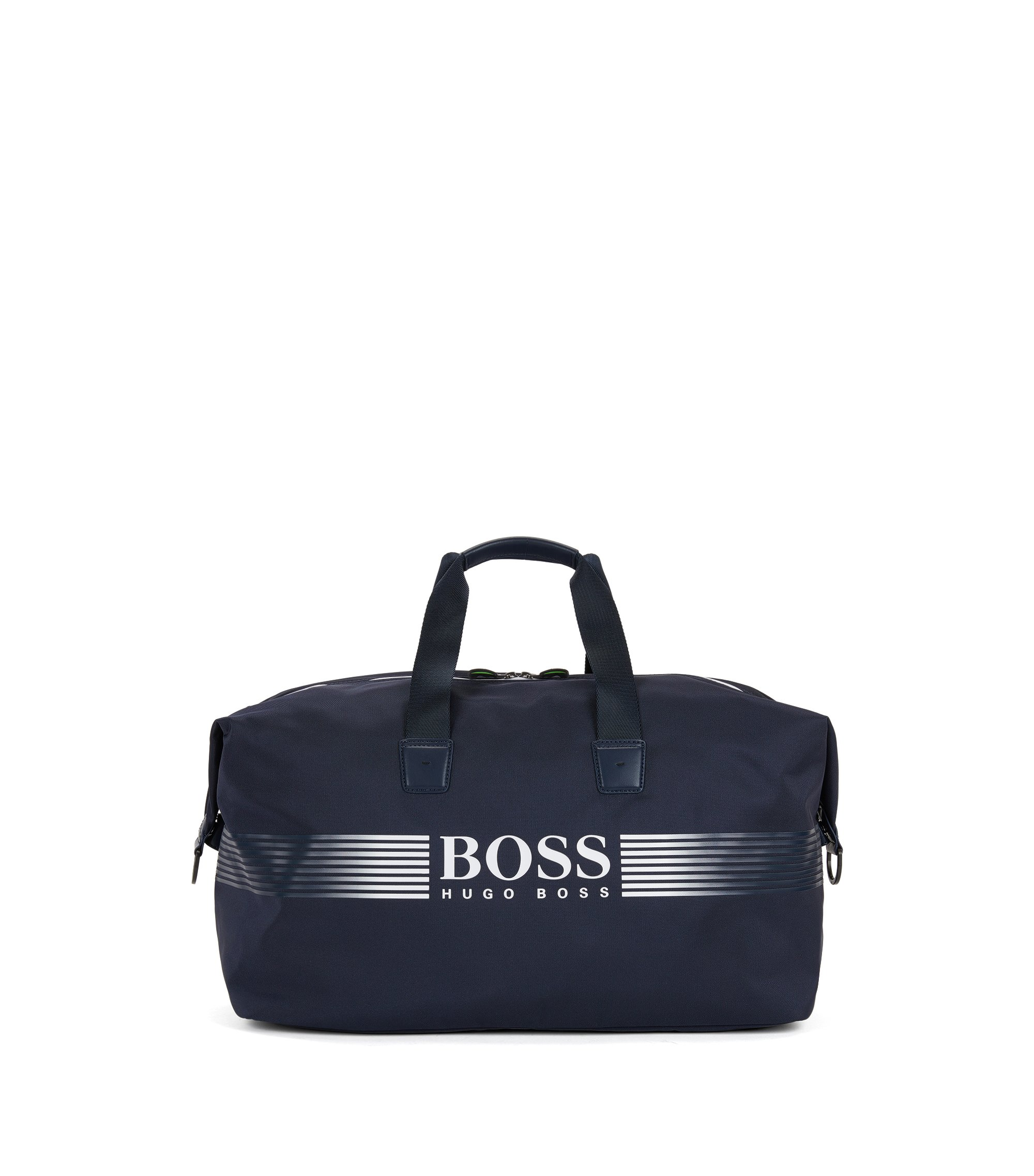 Nylon holdall with contrast logo, Blue