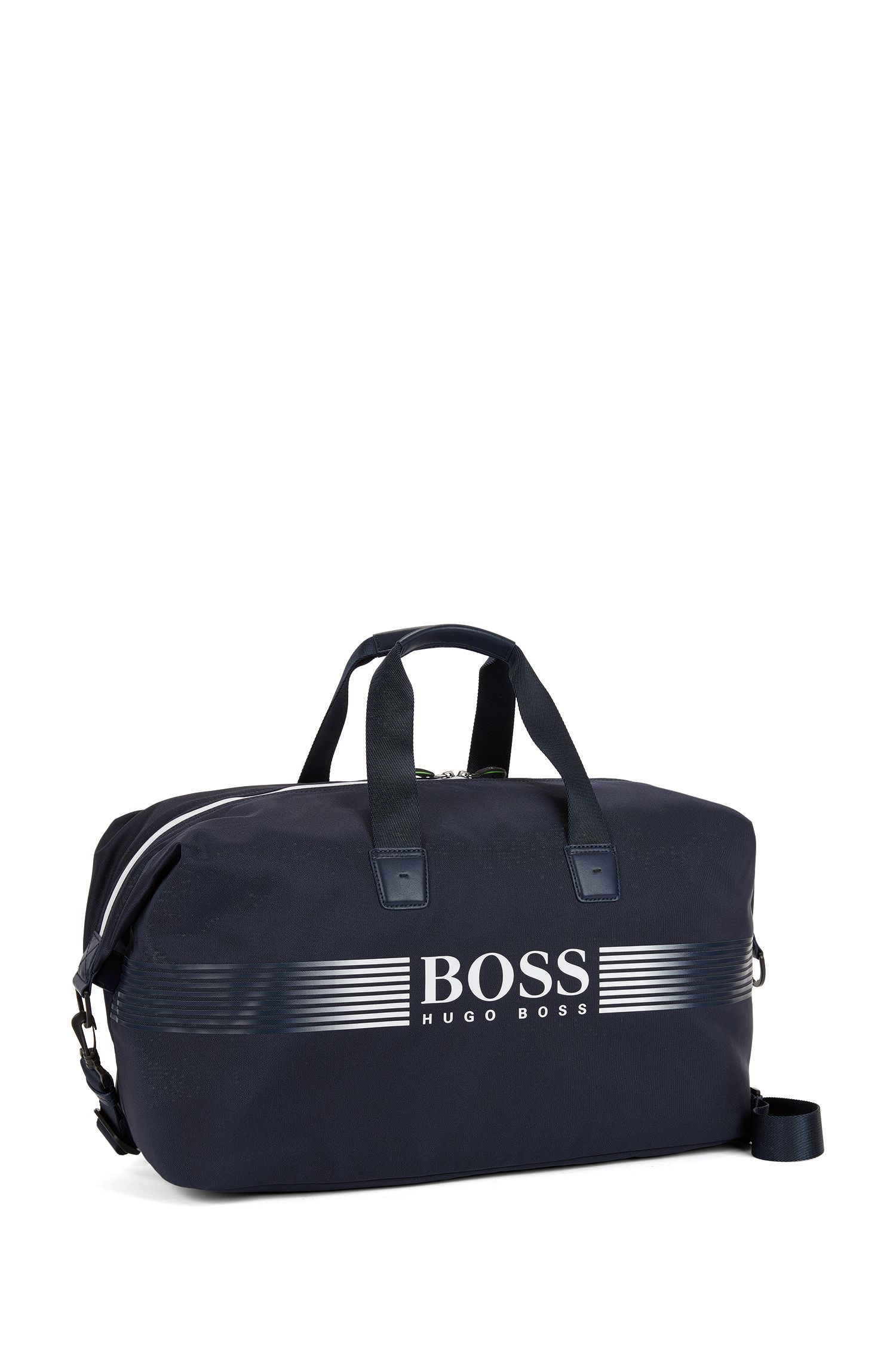 Nylon holdall with contrast logo