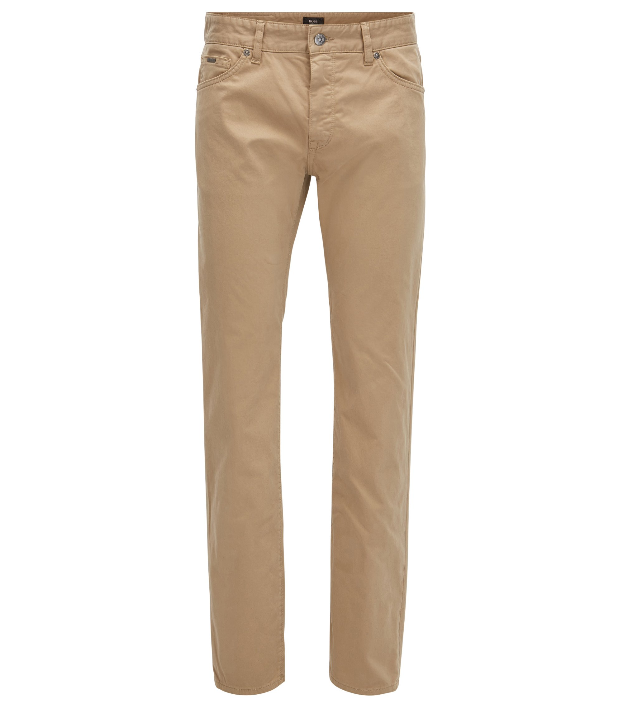 Regular-Fit Jeans aus gebürstetem Stretch-Satin, Beige
