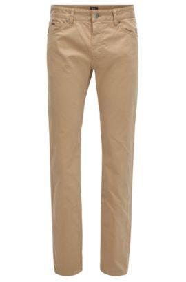 Jeans Regular Fit en satin stretch brossé, finition Diamond Brushed, Beige