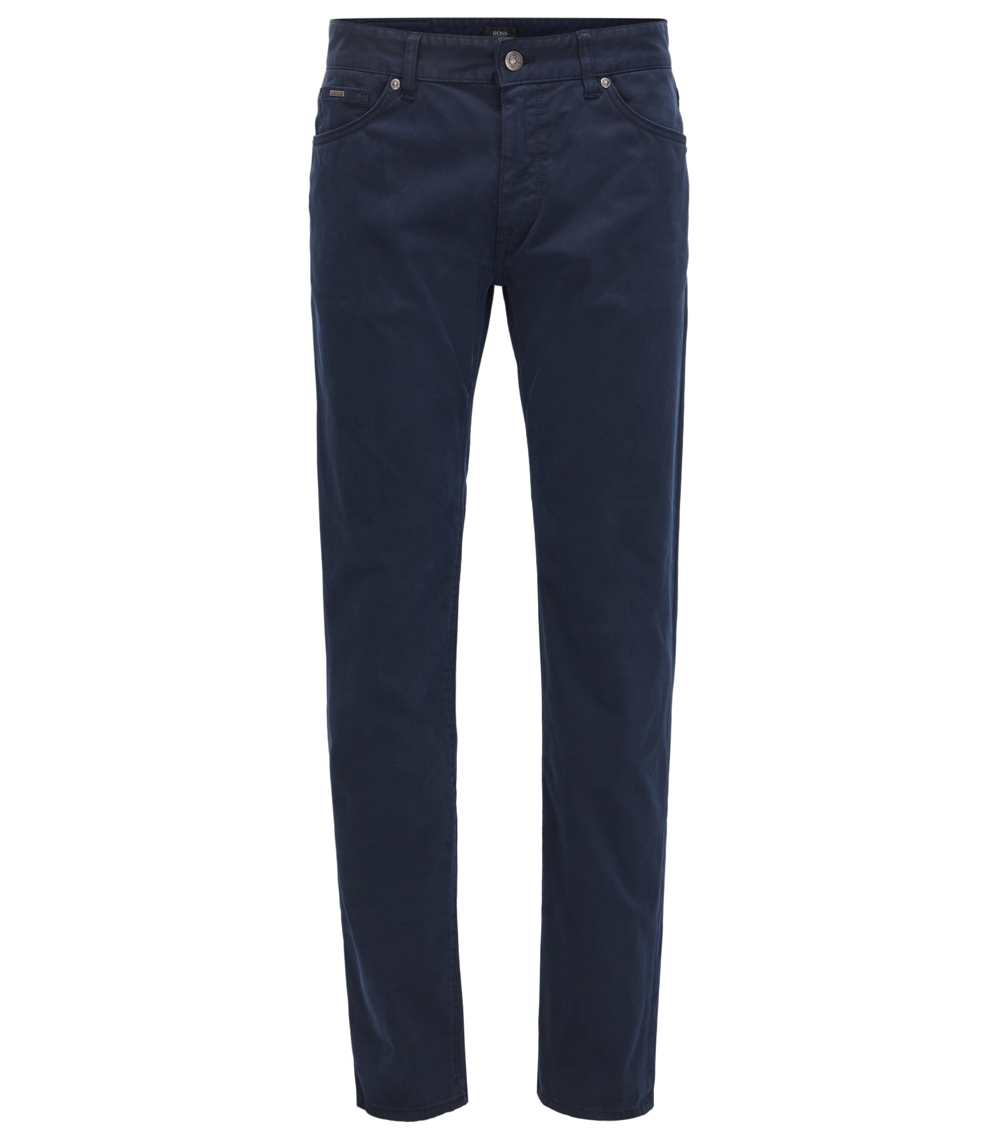 Regular-fit jeans in diamond-brushed stretch satin, Dark Blue