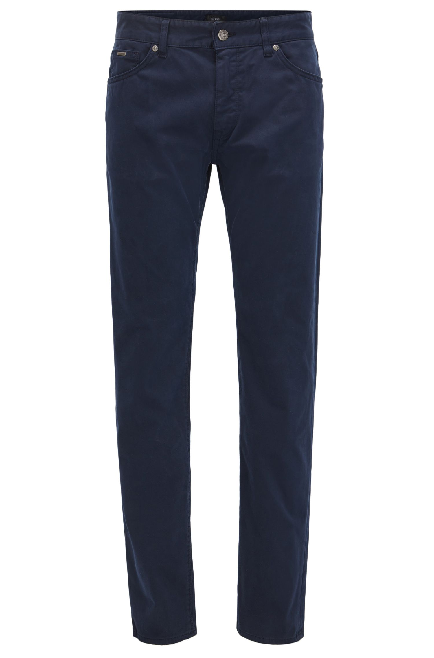 Regular-fit jeans in diamond-brushed stretch satin