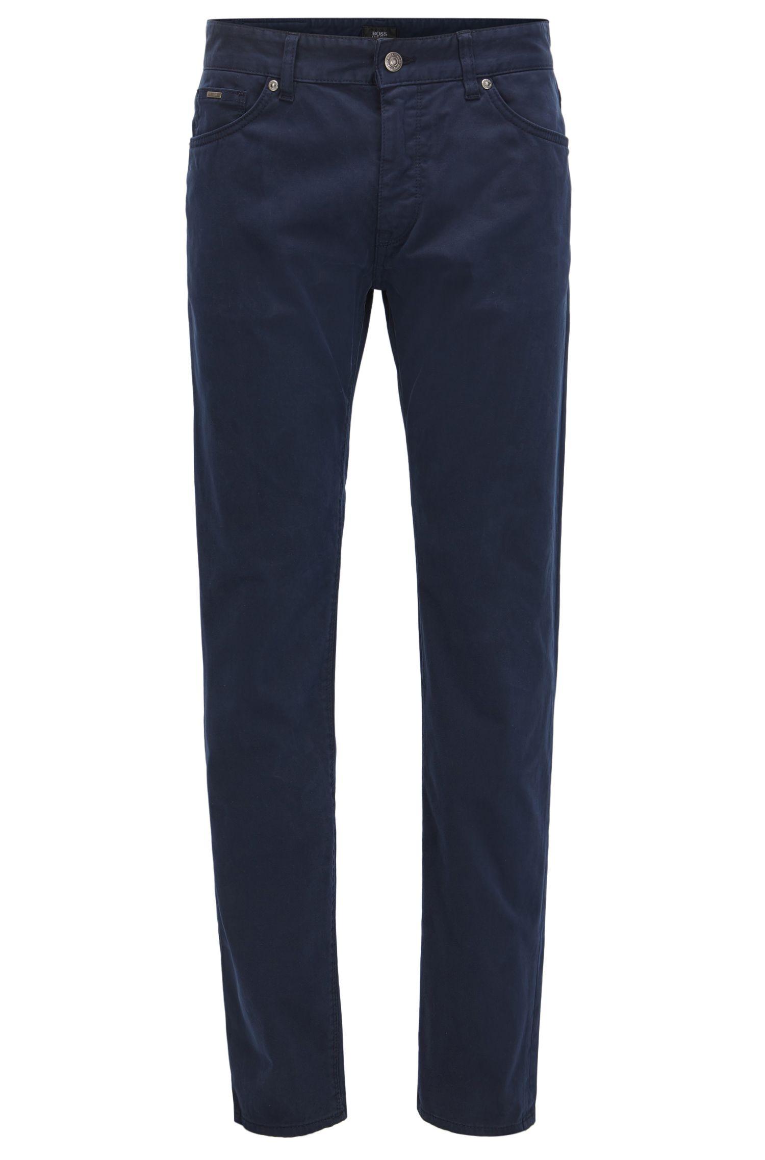 Jeans regular fit in satin elasticizzato con finitura spazzolata effetto diamante