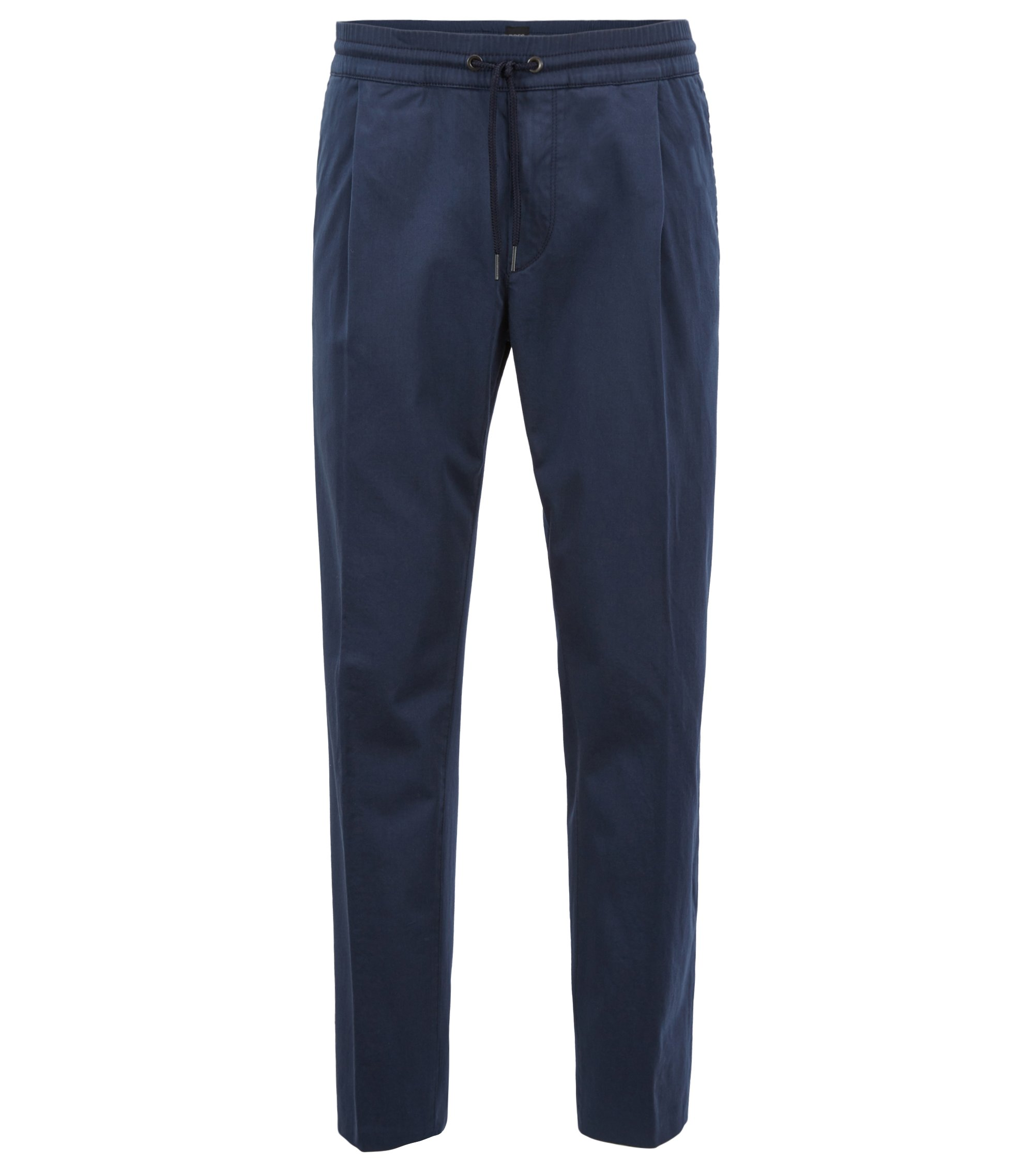 Tapered-fit trousers in a stretch-cotton blend, Dark Blue