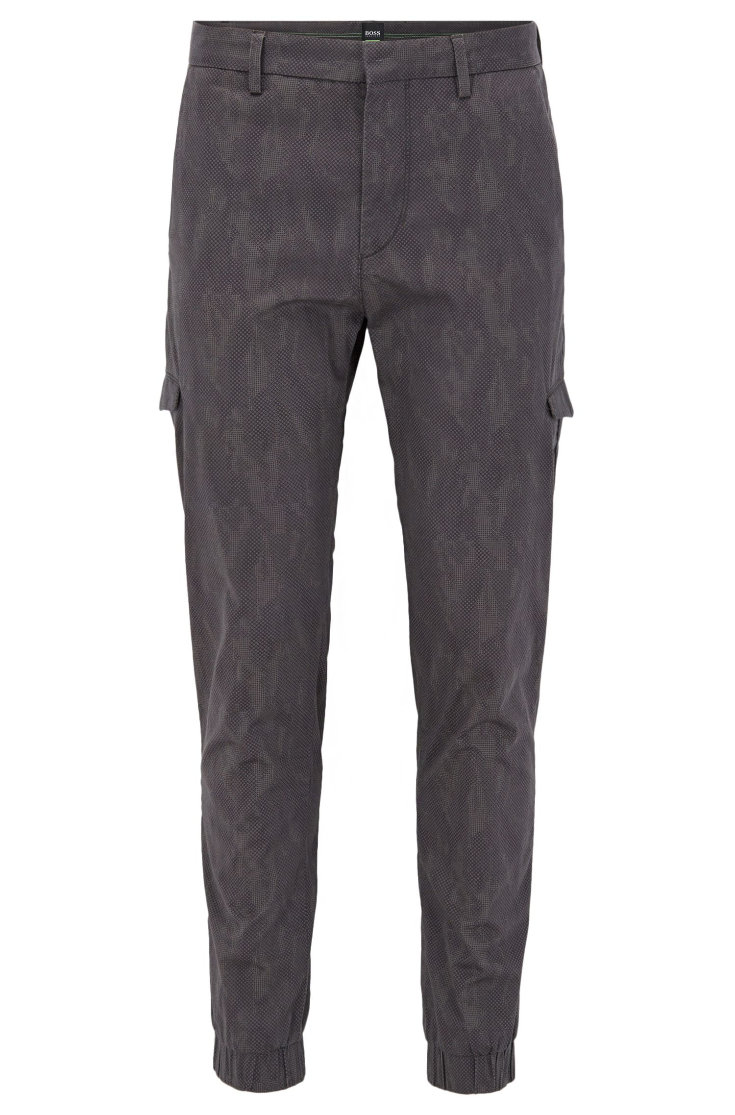 Slim-fit printed cargo trousers in stretch cotton