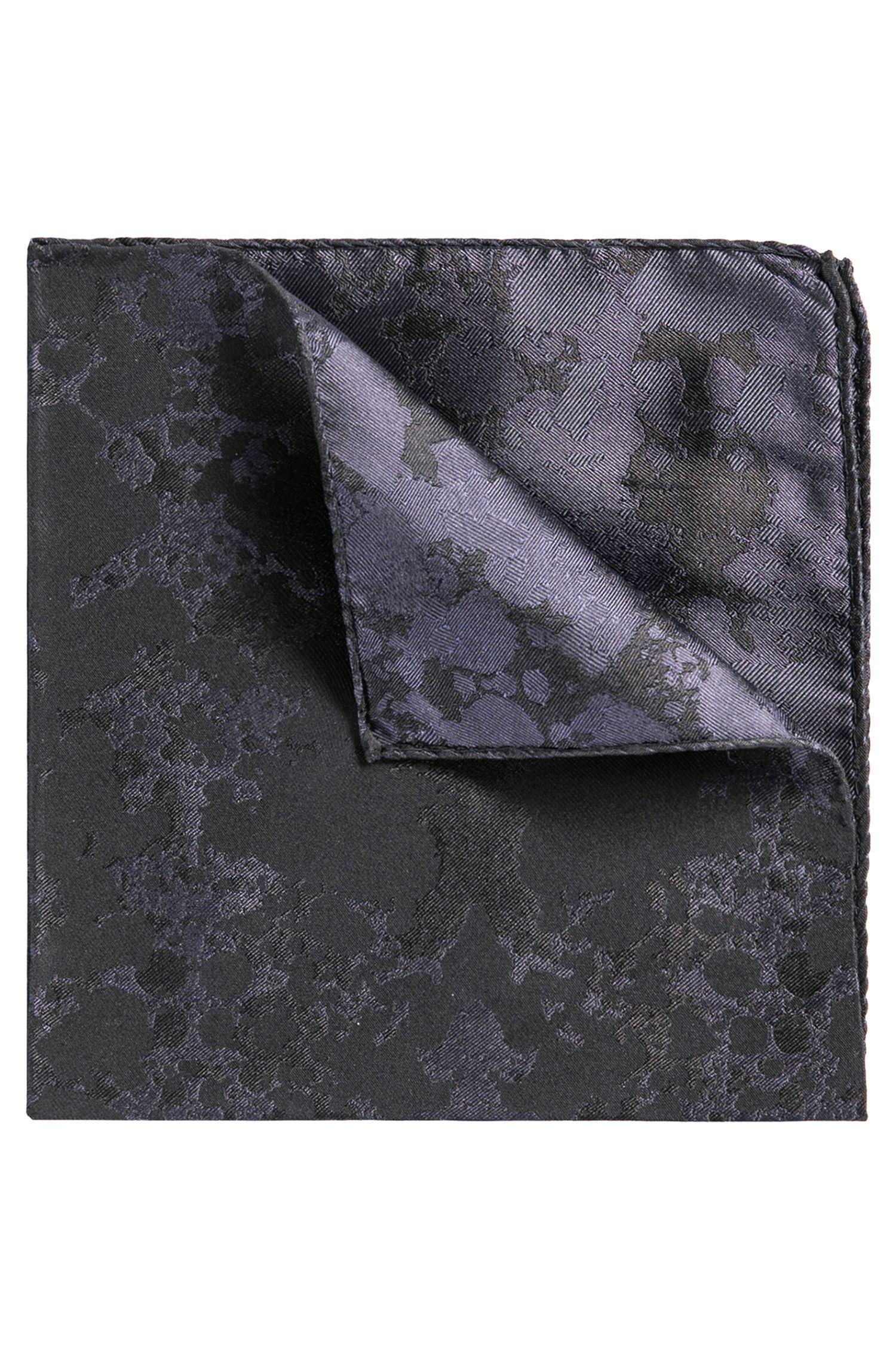 Pañuelo de bolsillo en jacquard de seda con diseño de manchas de tinta