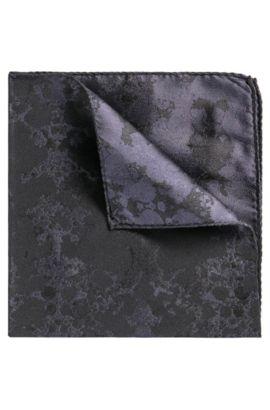 Pochet in een jacquard van zijde met inktvlekdessin, Donkerblauw