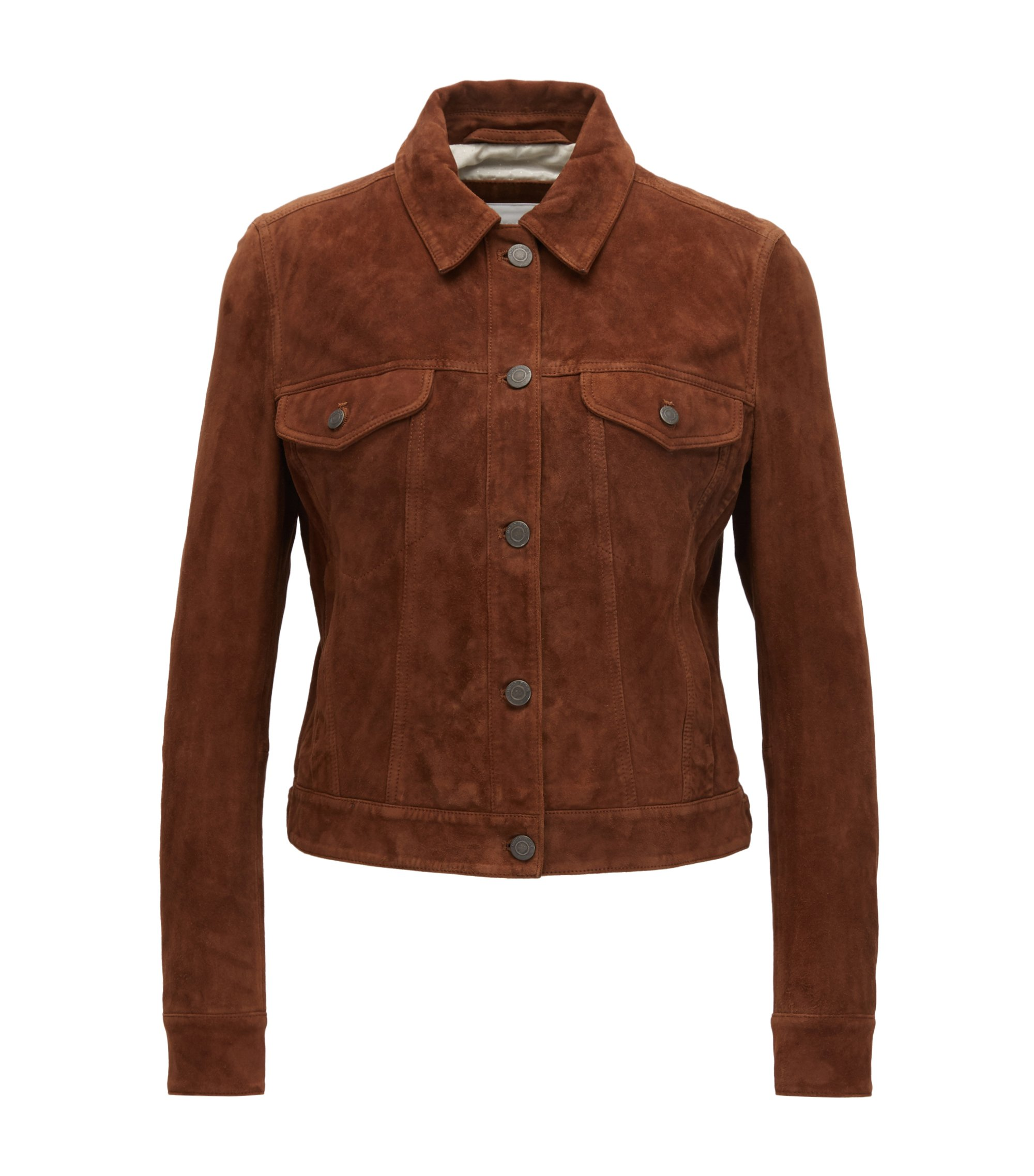 Suede trucker jacket with artwork panel, Light Brown