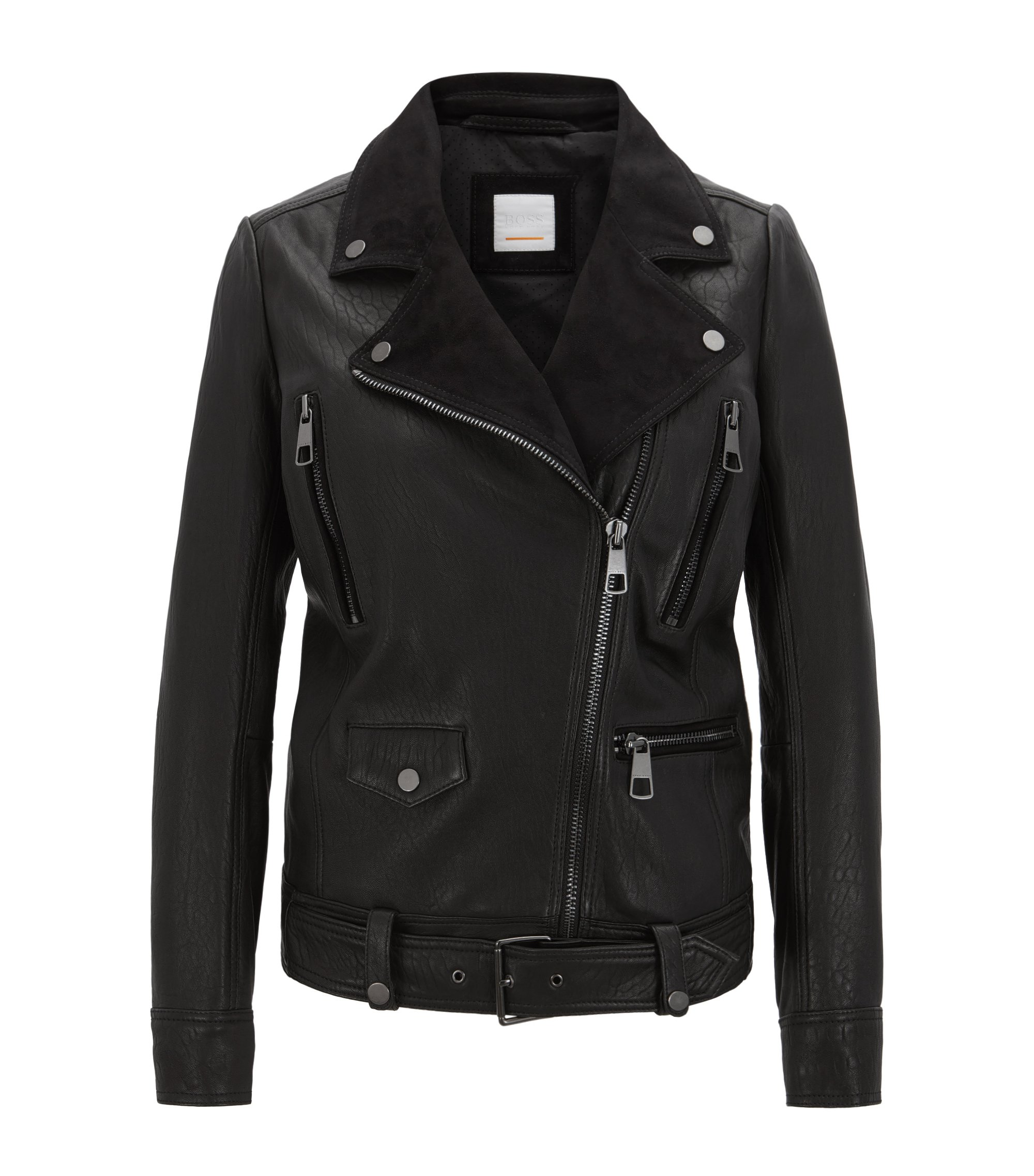 Relaxed-fit biker jacket in structured nappa leather and suede, Black
