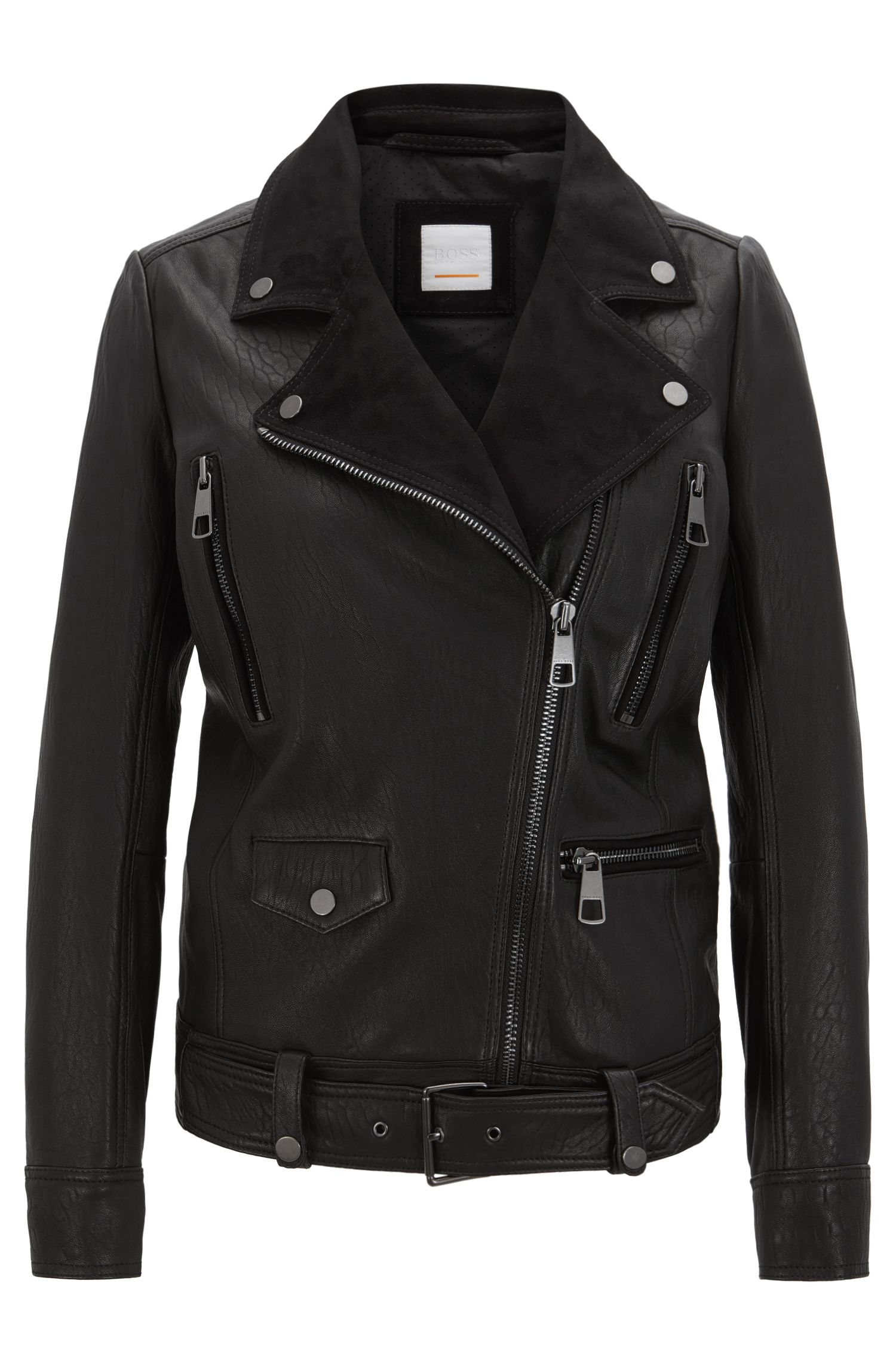 Relaxed-fit biker jacket in structured nappa leather and suede