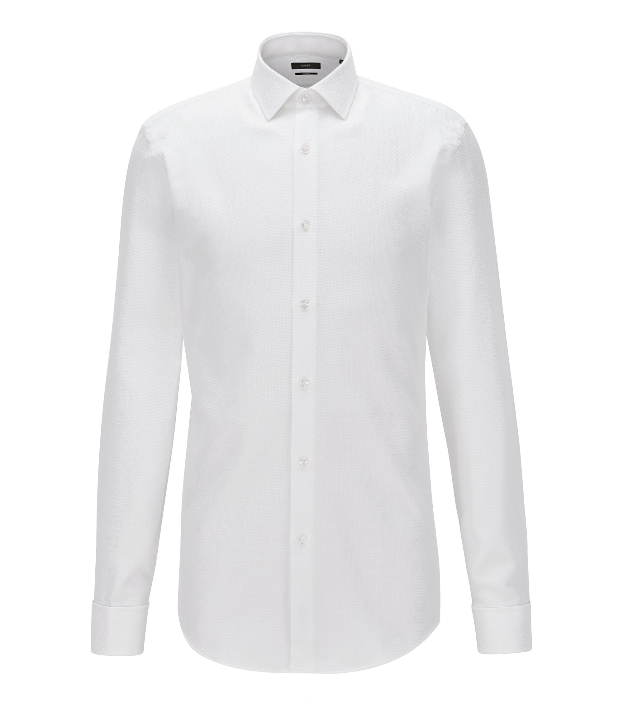Slim-fit shirt in patterned cotton with double cuffs, White