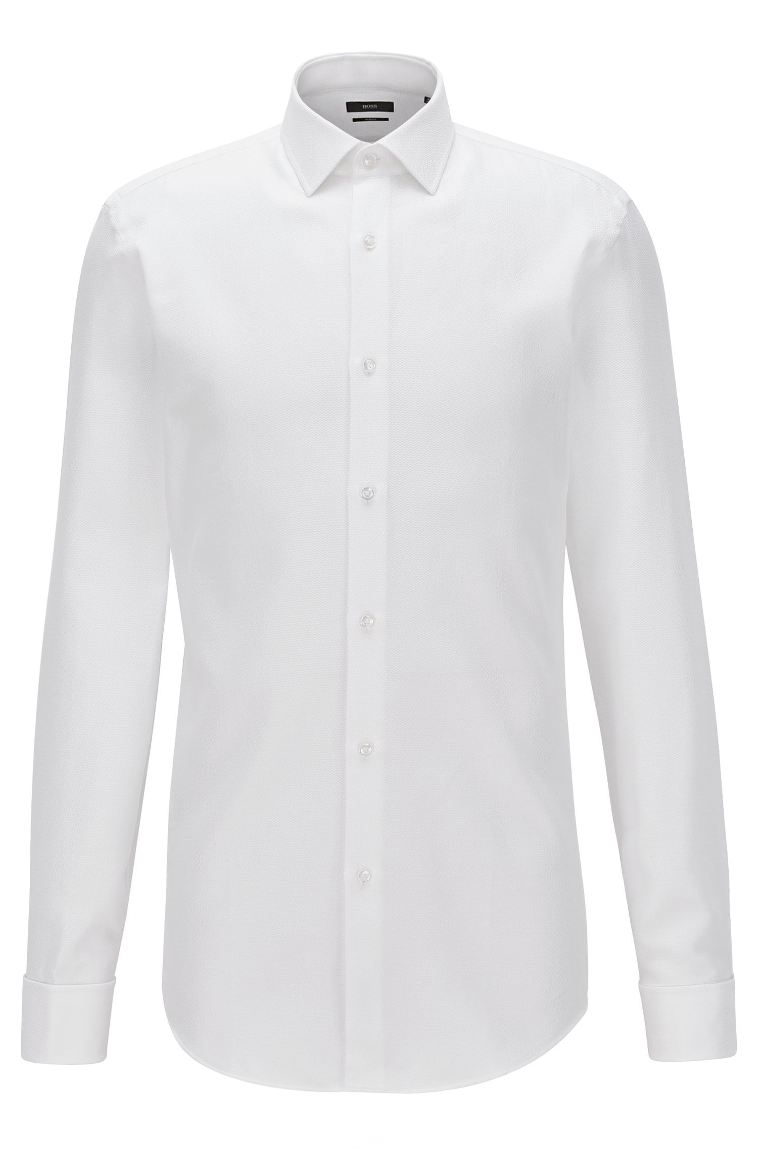 Slim-fit shirt in patterned cotton with double cuffs