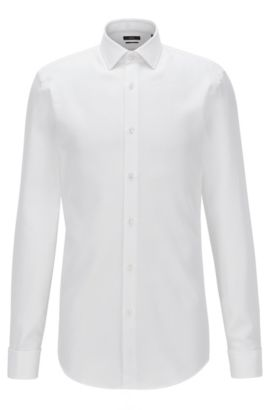 Slim-fit shirt in patterned cotton with double cuffs, Wit