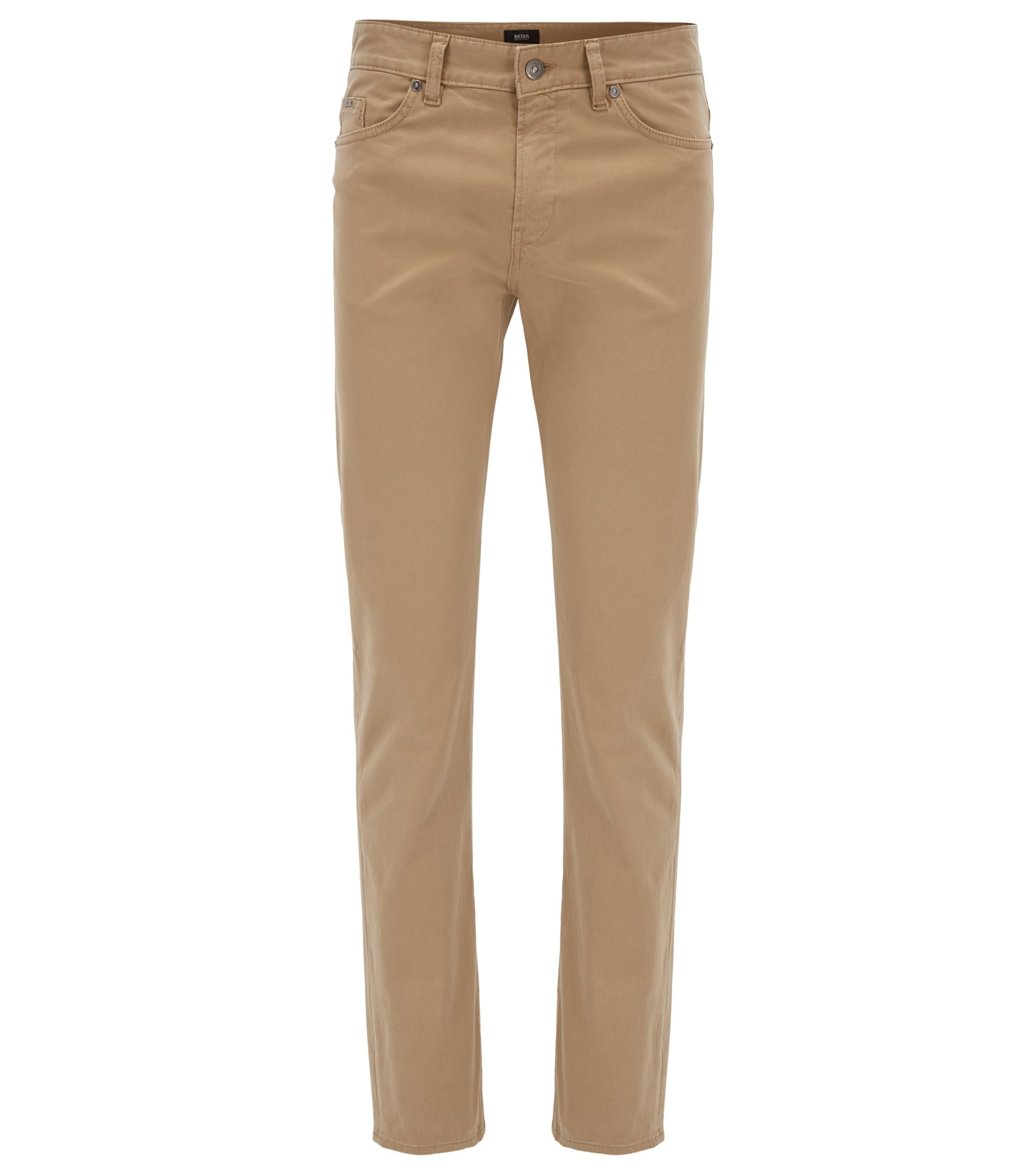 Slim-Fit Jeans aus gebürstetem Stretch-Denim mit Satin-Finish, Beige