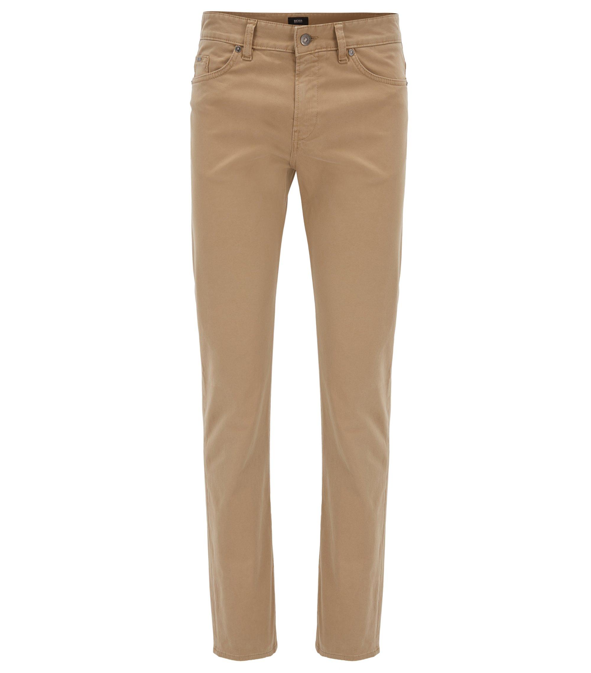 Slim-fit jeans van geborsteld satijnen stretchdenim, Beige
