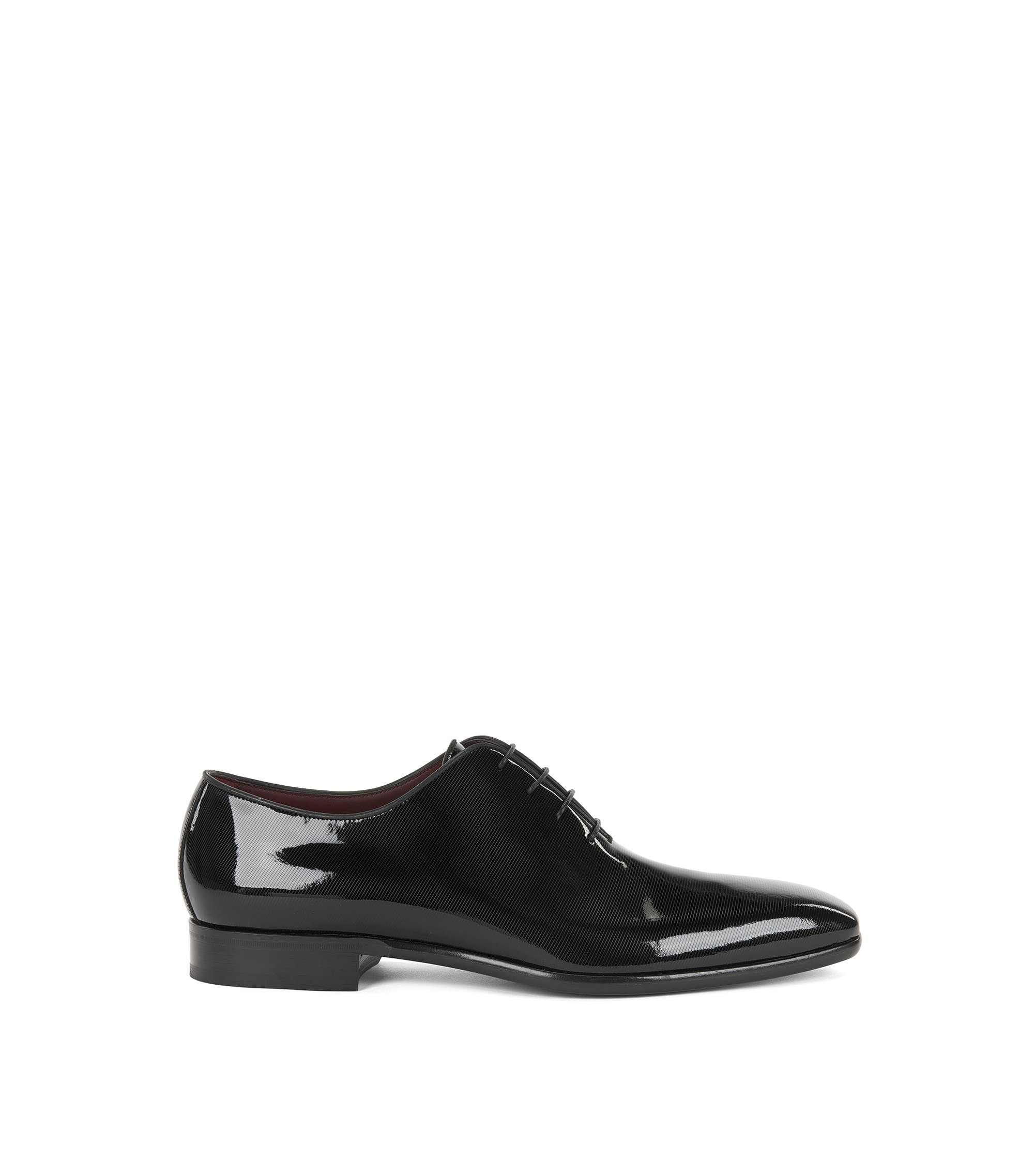 Zapatos Oxford en charol estampado, Negro