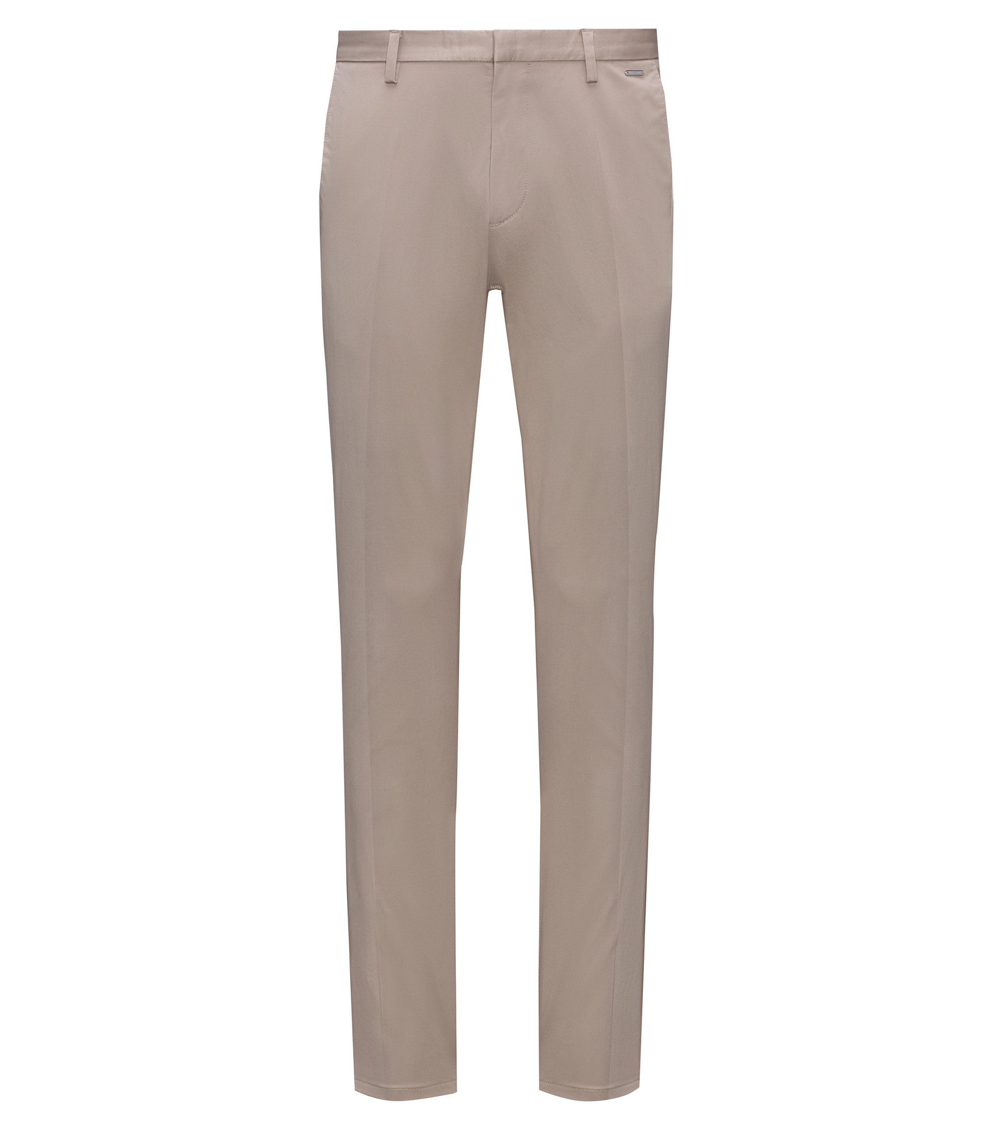 Lightweight slim-fit trousers in stretch-cotton gabardine, Beige
