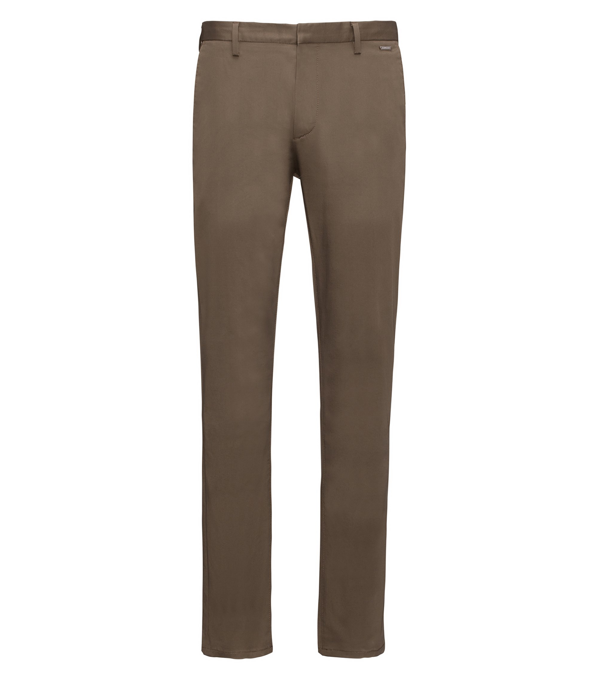 Lightweight slim-fit trousers in stretch-cotton gabardine, Dark Green