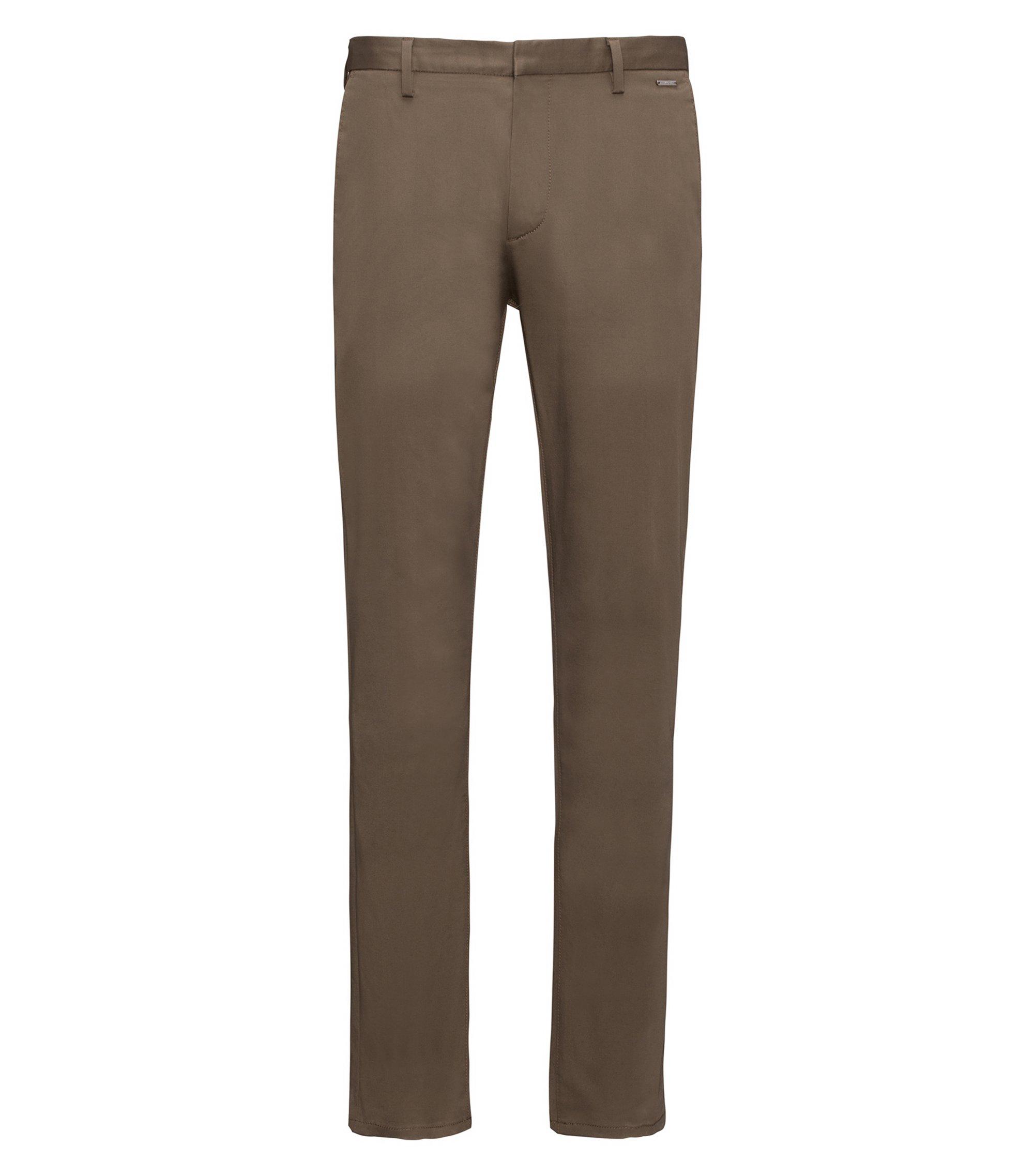Pantalon Slim Fit léger en gabardine de coton stretch, Vert sombre