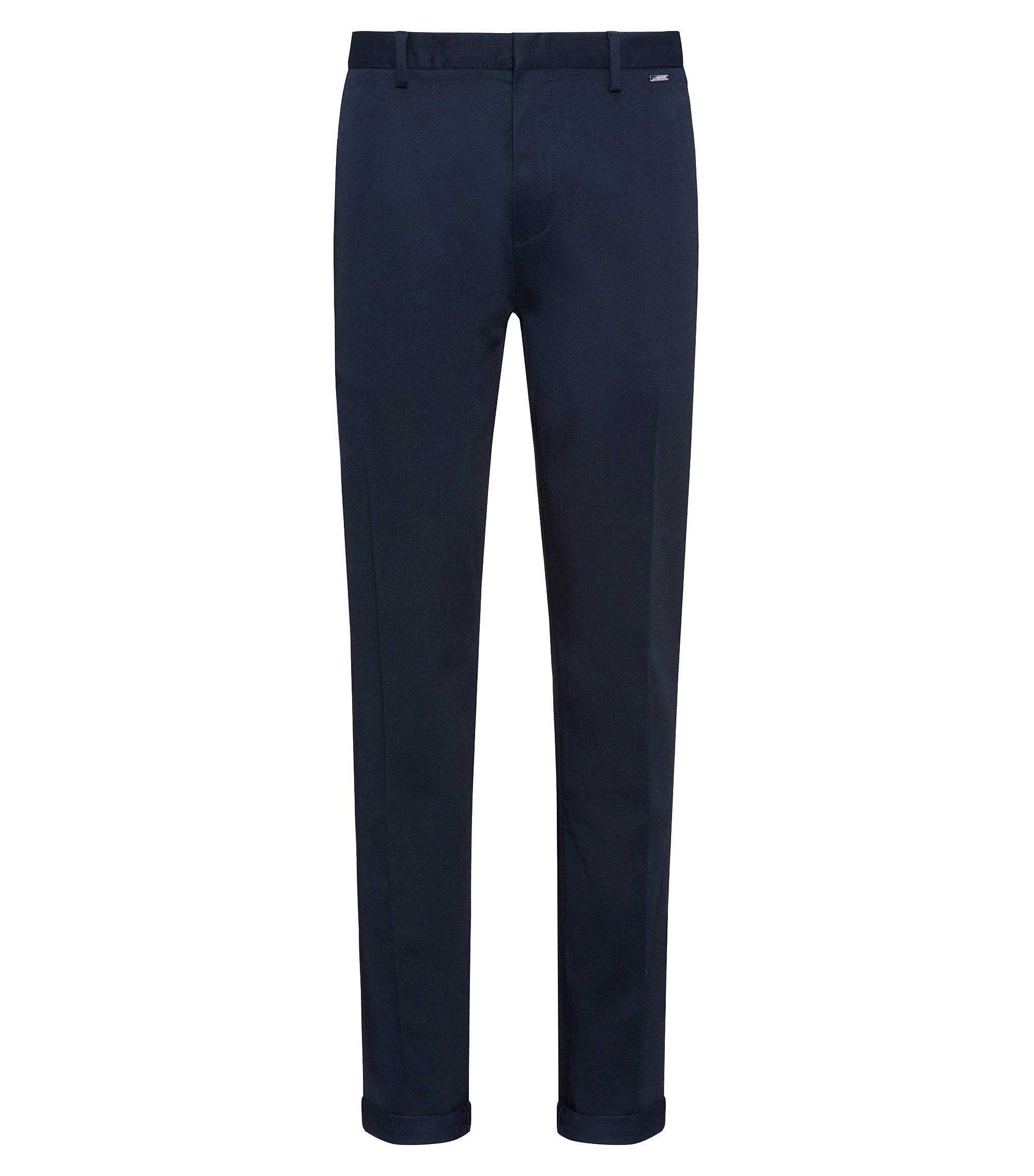 Lightweight slim-fit trousers in stretch-cotton gabardine, Dark Blue