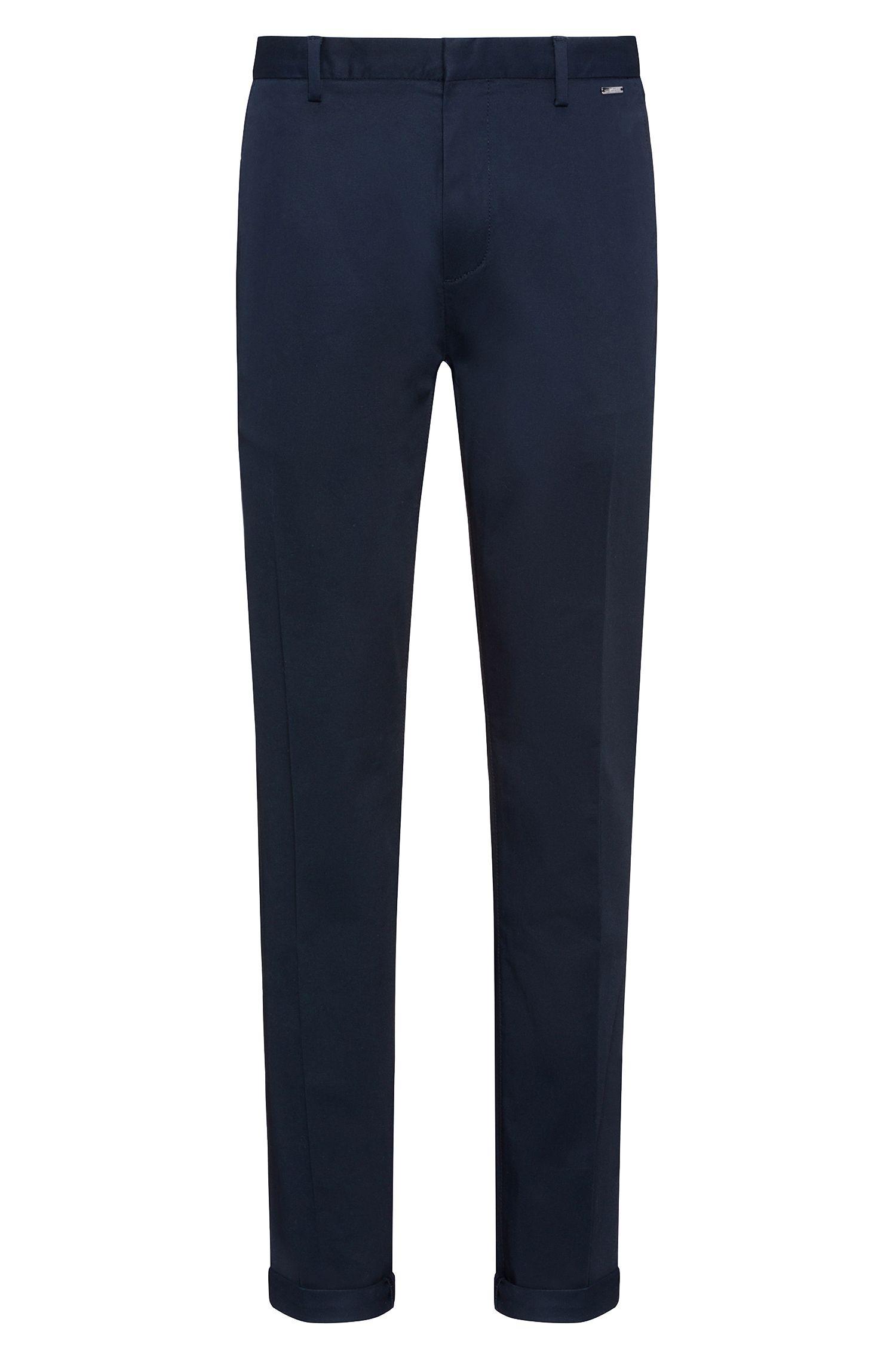 Pantalon Slim Fit léger en gabardine de coton stretch