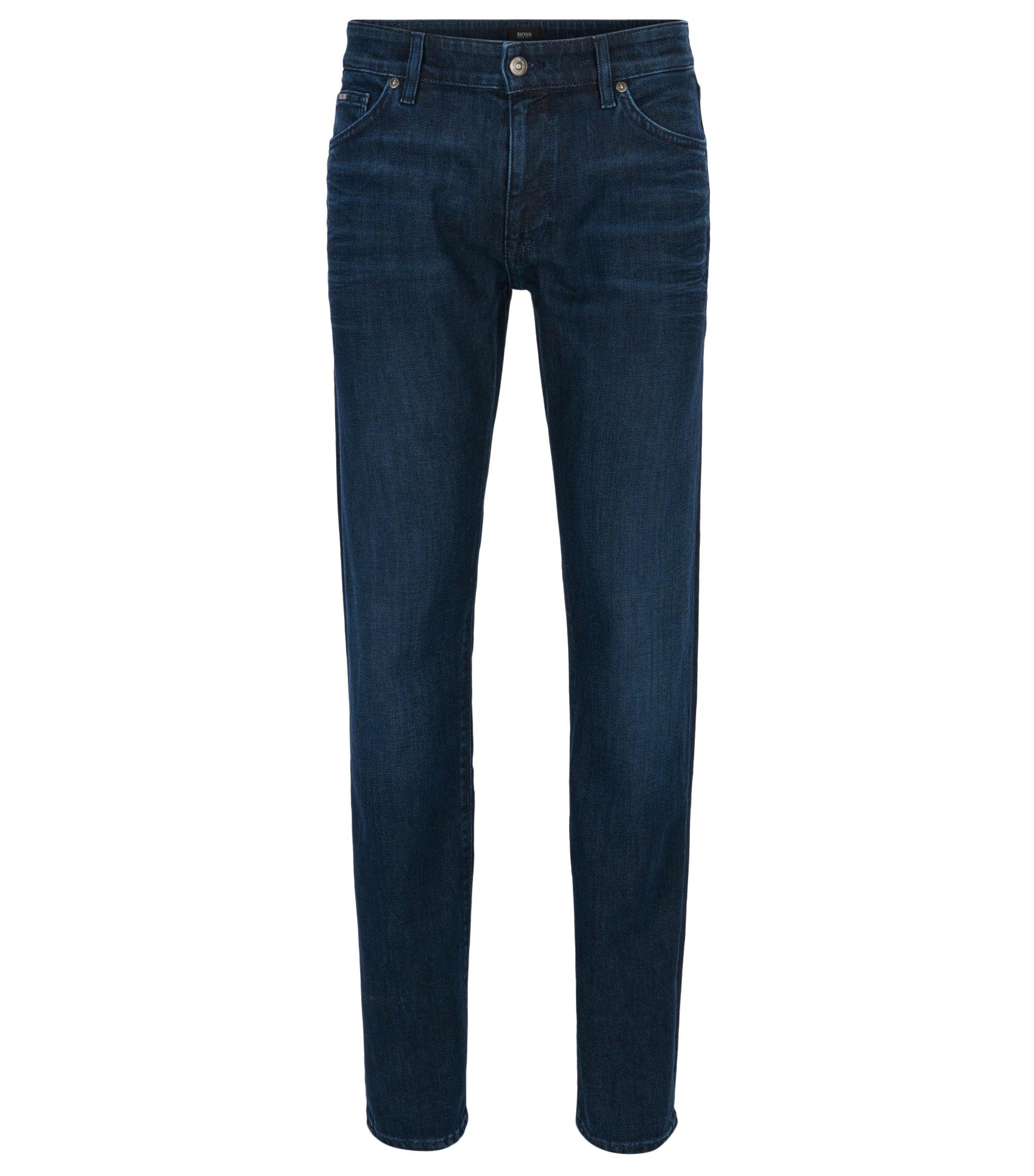Dark-blue mid-wash stretch-denim jeans in a regular fit, Blue