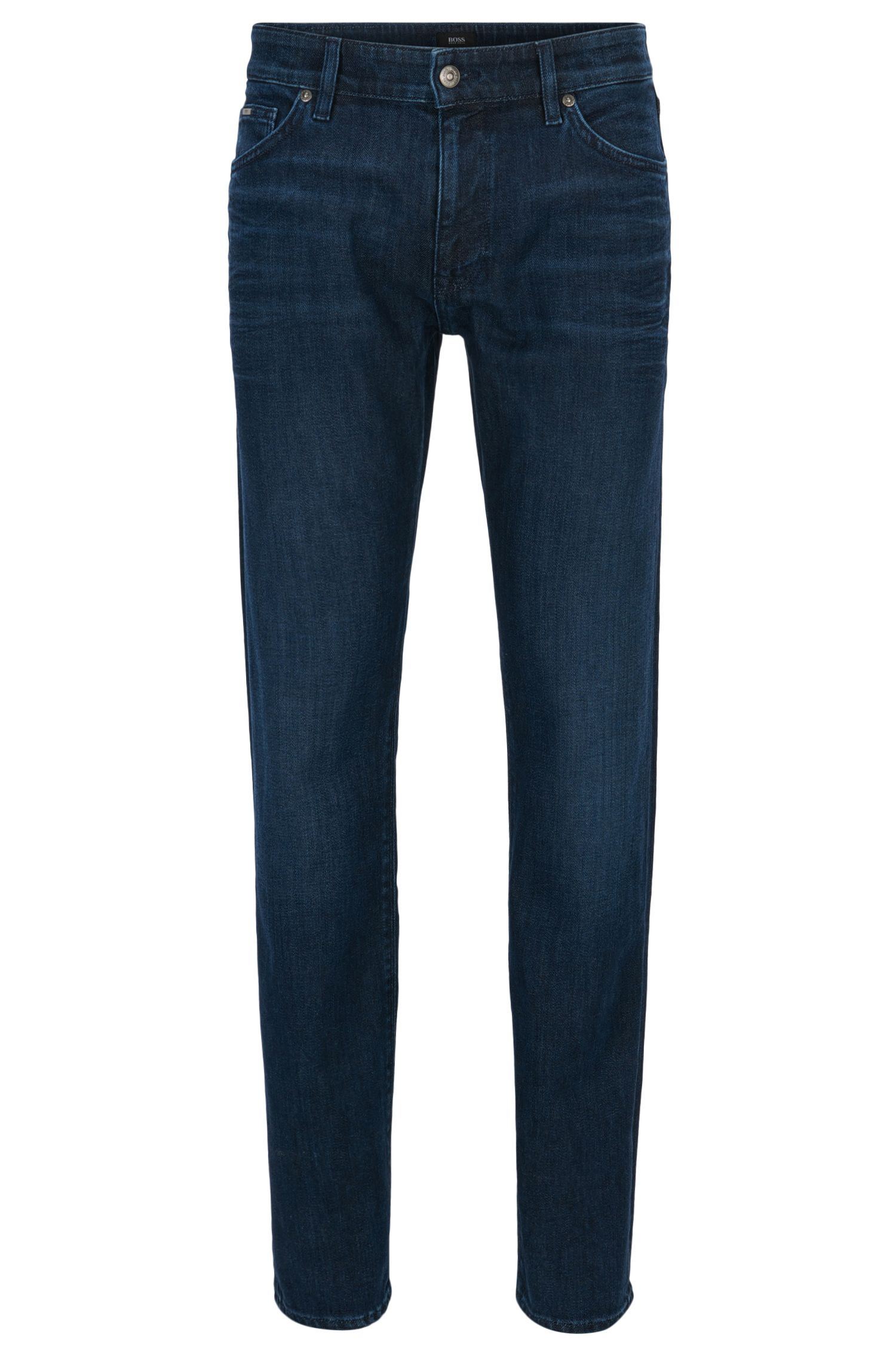 Dark-blue mid-wash stretch-denim jeans in a regular fit