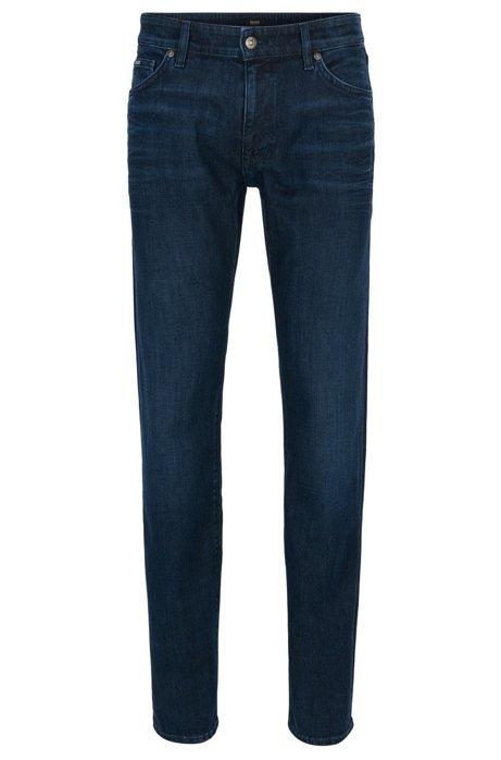 Regular-fit jeans in dark-blue washed stretch denim BOSS VCQvki9jxH