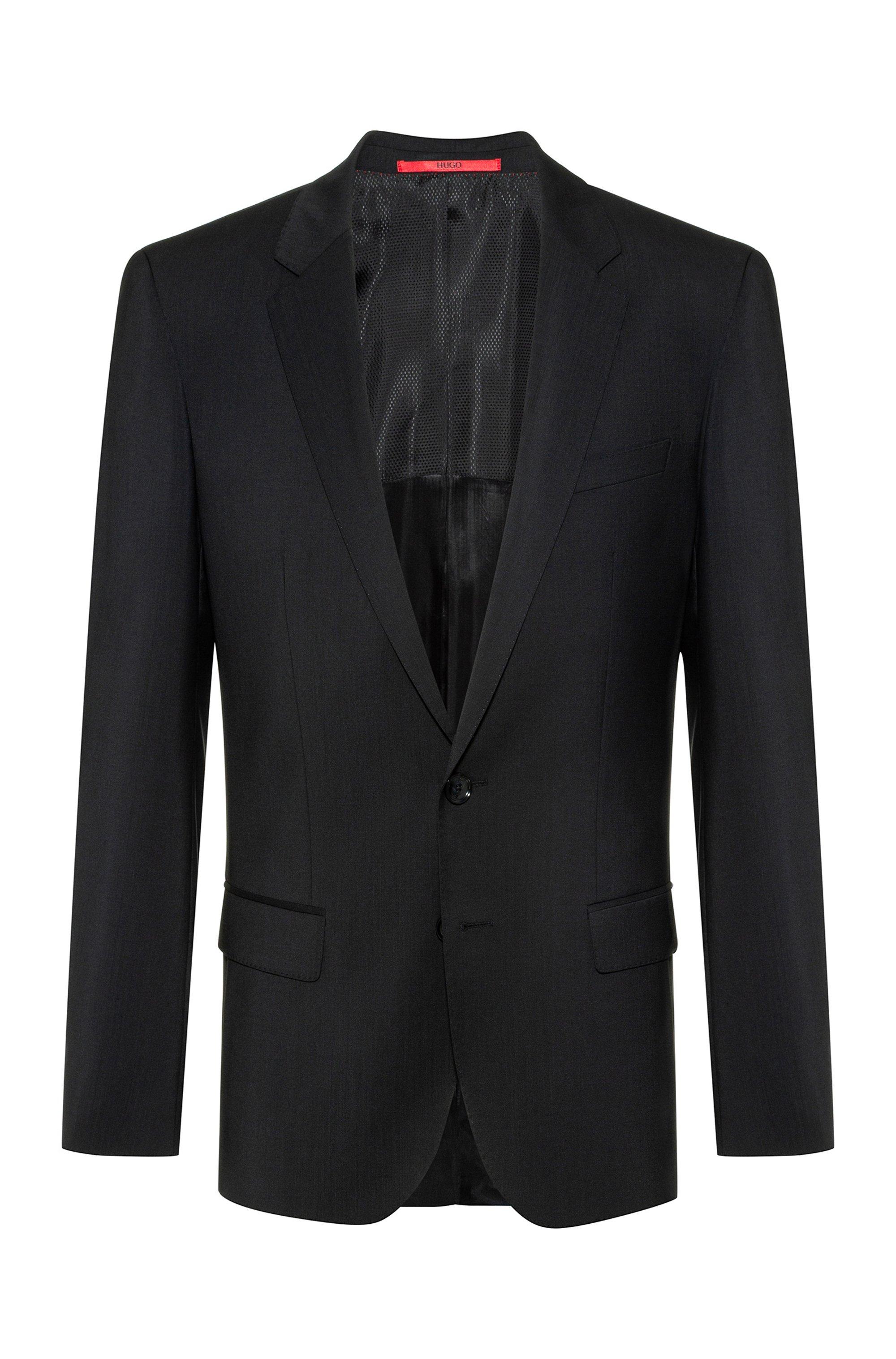 Slim-fit jacket in virgin-wool poplin, Black