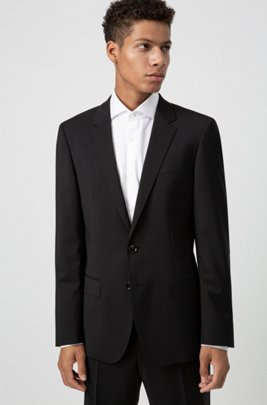 Slim-fit jacket in virgin-wool poplin, Black