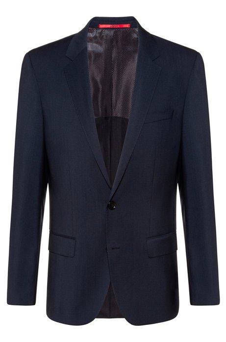 Slim-fit jacket in virgin-wool poplin, Dark Blue