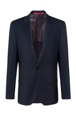 Americana slim fit de popelín de lana virgen, Azul oscuro
