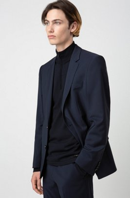 Slim-fit jacket in virgin-wool poplin, Dark Blue
