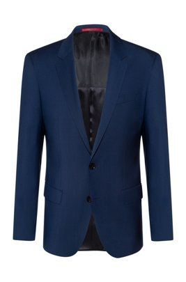 Slim-fit jacket in virgin-wool poplin, Blue