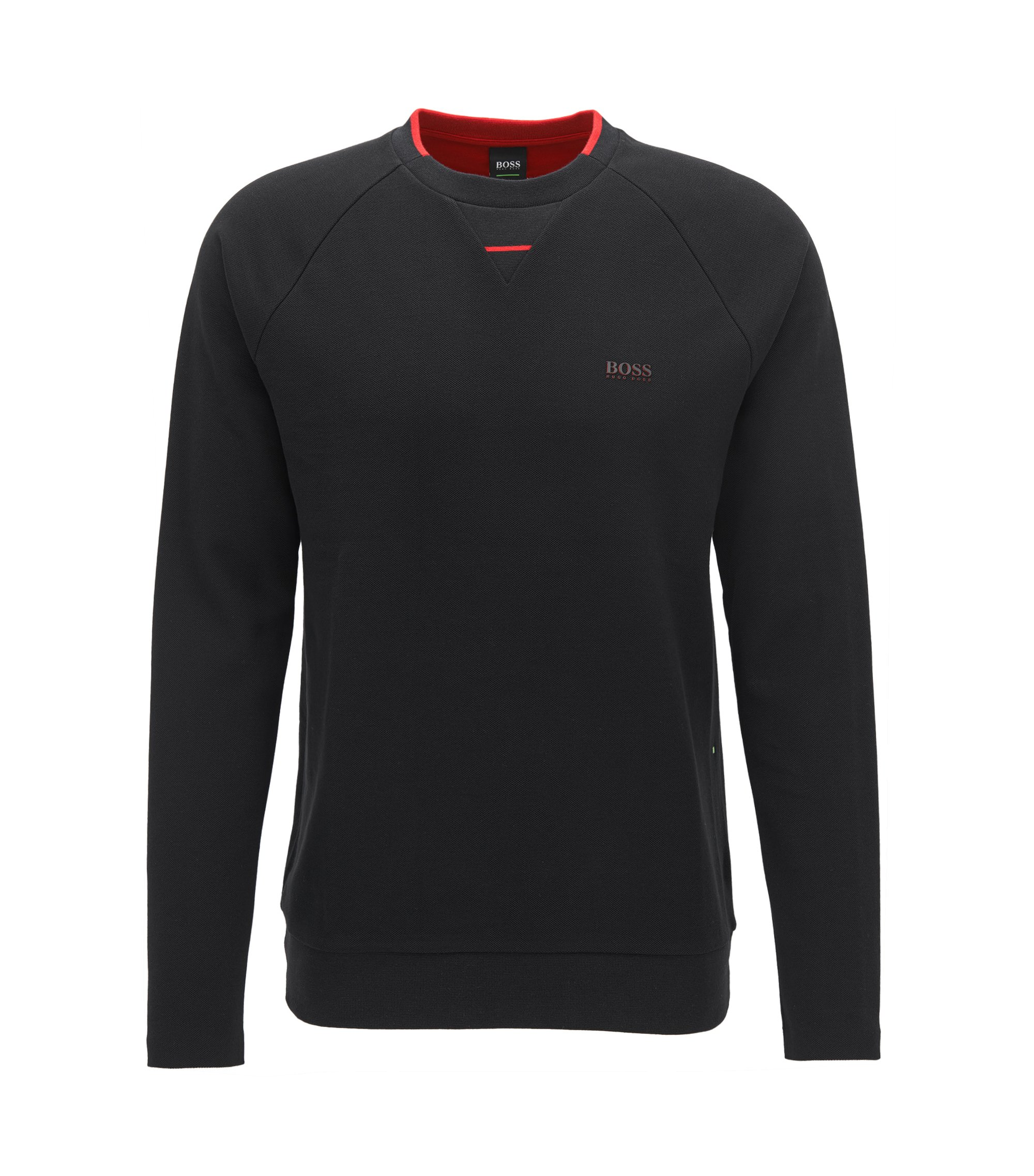 Cotton piqué sweatshirt with seamless sides, Black