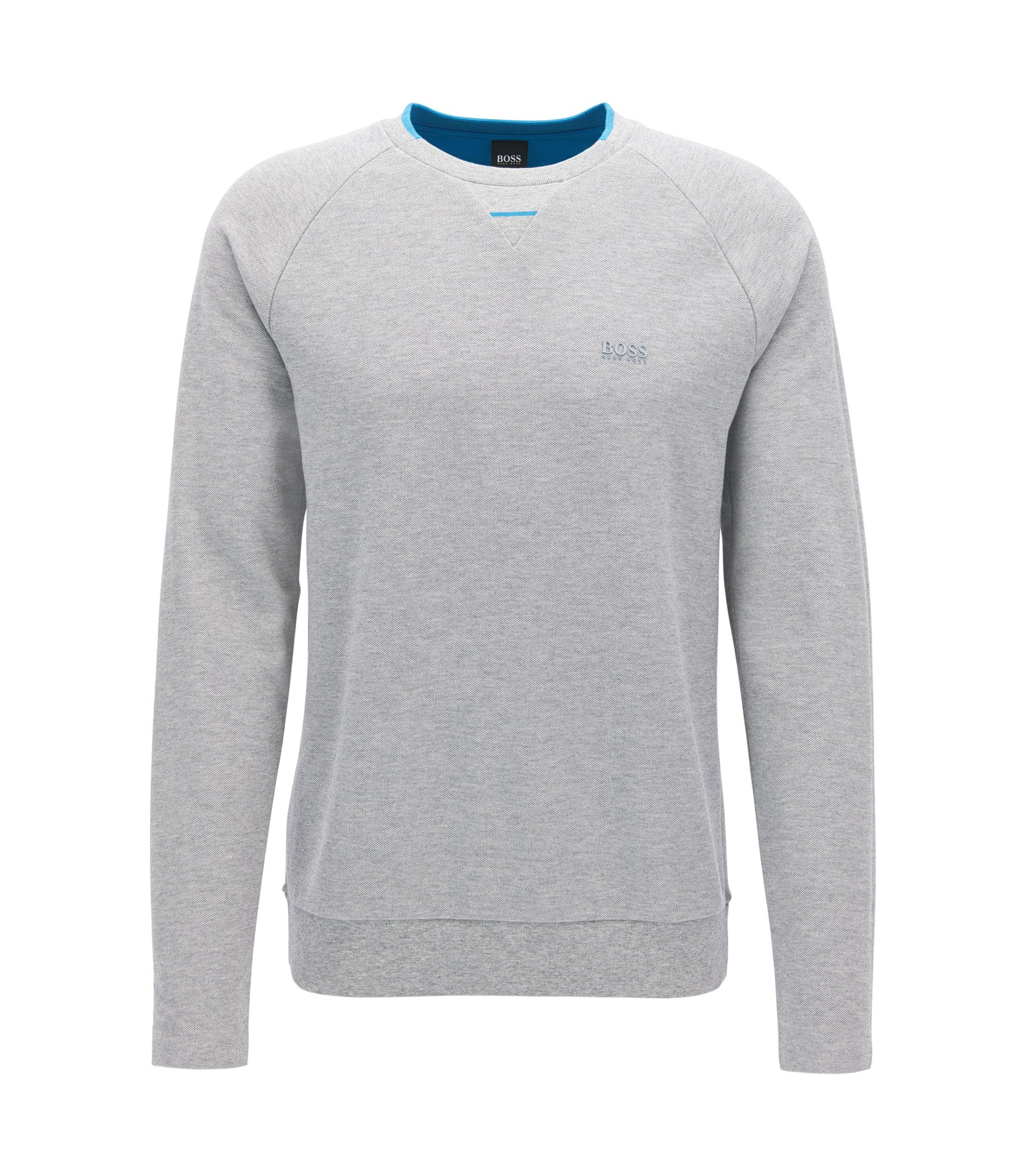 Cotton piqué sweatshirt with seamless sides, Light Grey