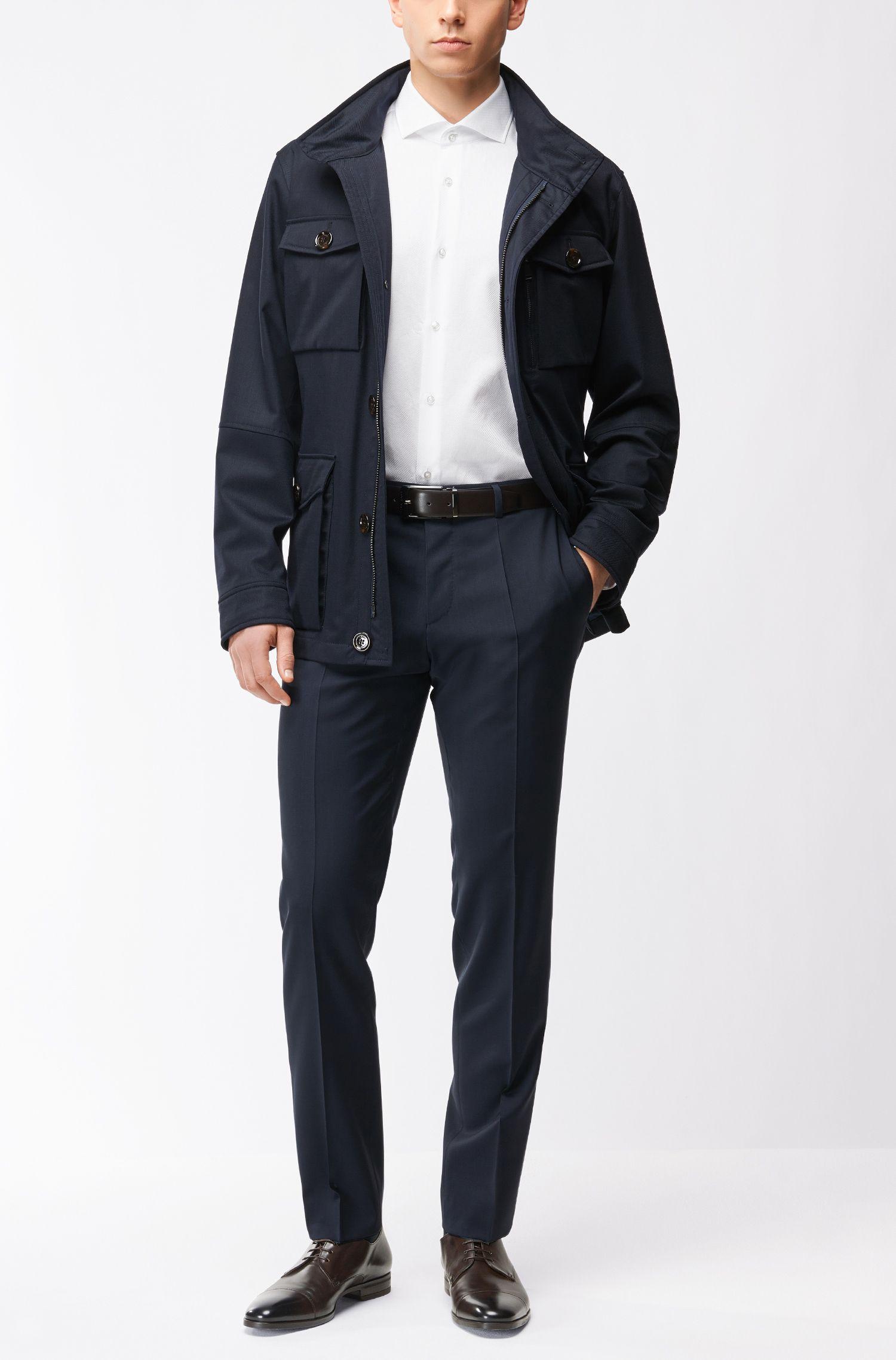 Slim-fit overhemd van gestructureerd katoen
