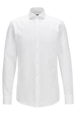 Chemise Slim Fit en coton structuré, Blanc