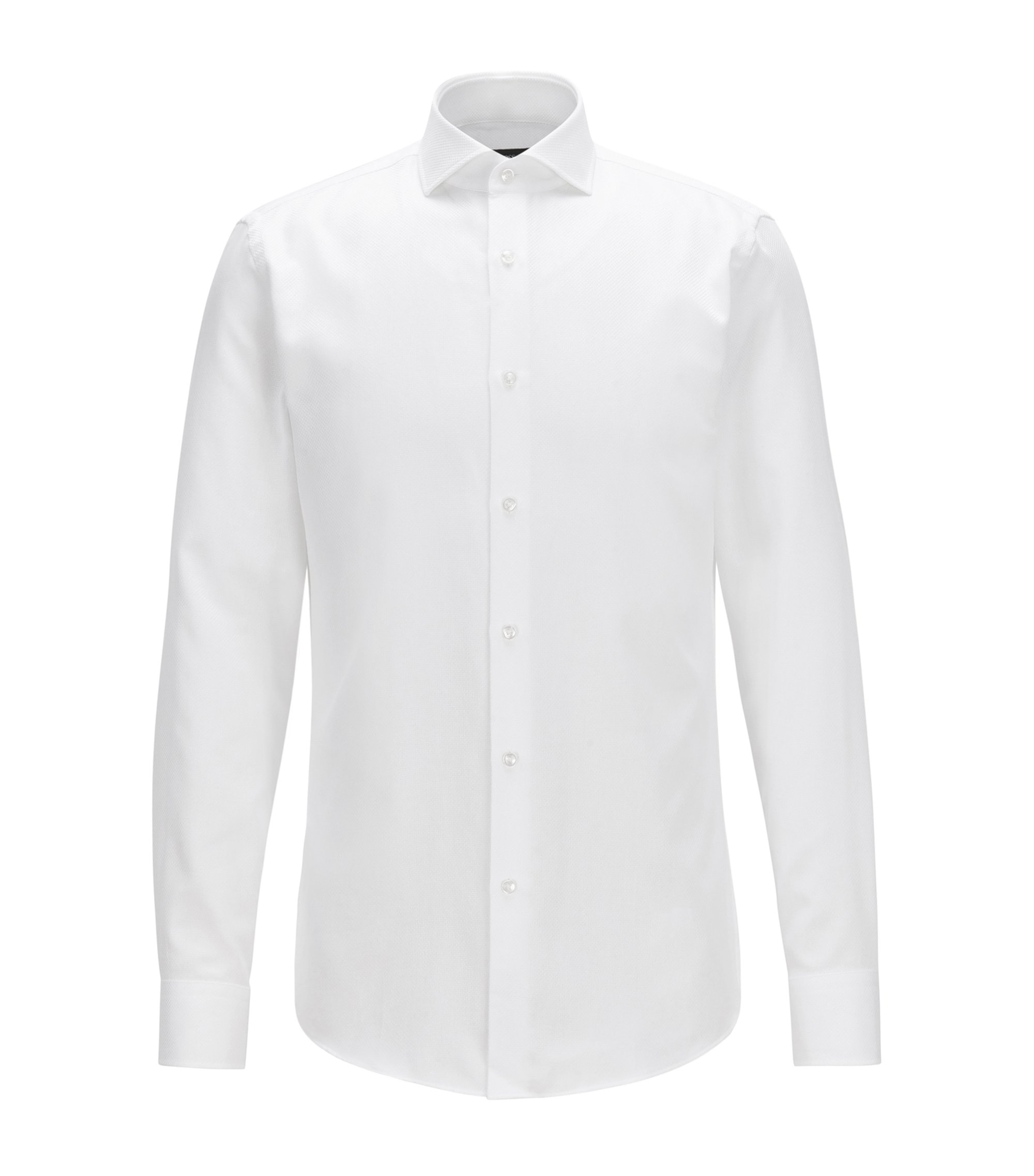 Slim-fit shirt in structured cotton, White
