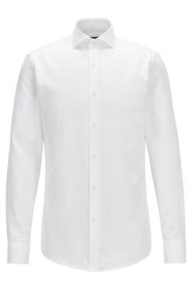 Camisa slim fit en algodón con textura, Blanco