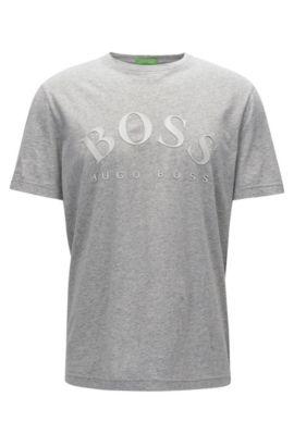 T-shirt Slim Fit en coton doux, Gris chiné