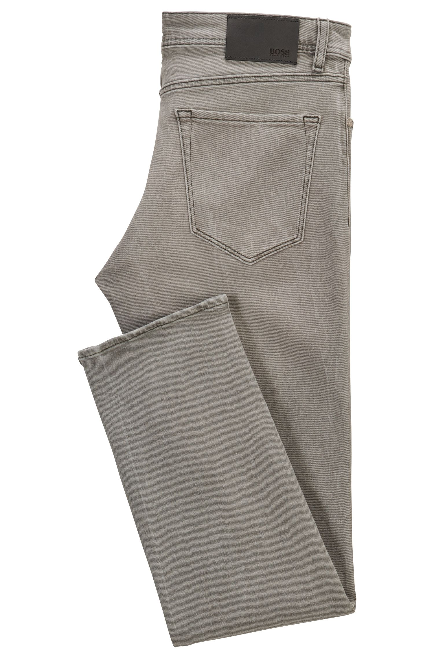 Jean Regular Fit en denim stretch gris, au délavage moyen
