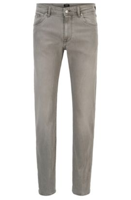 Jean Regular Fit en denim stretch gris, au délavage moyen, Gris