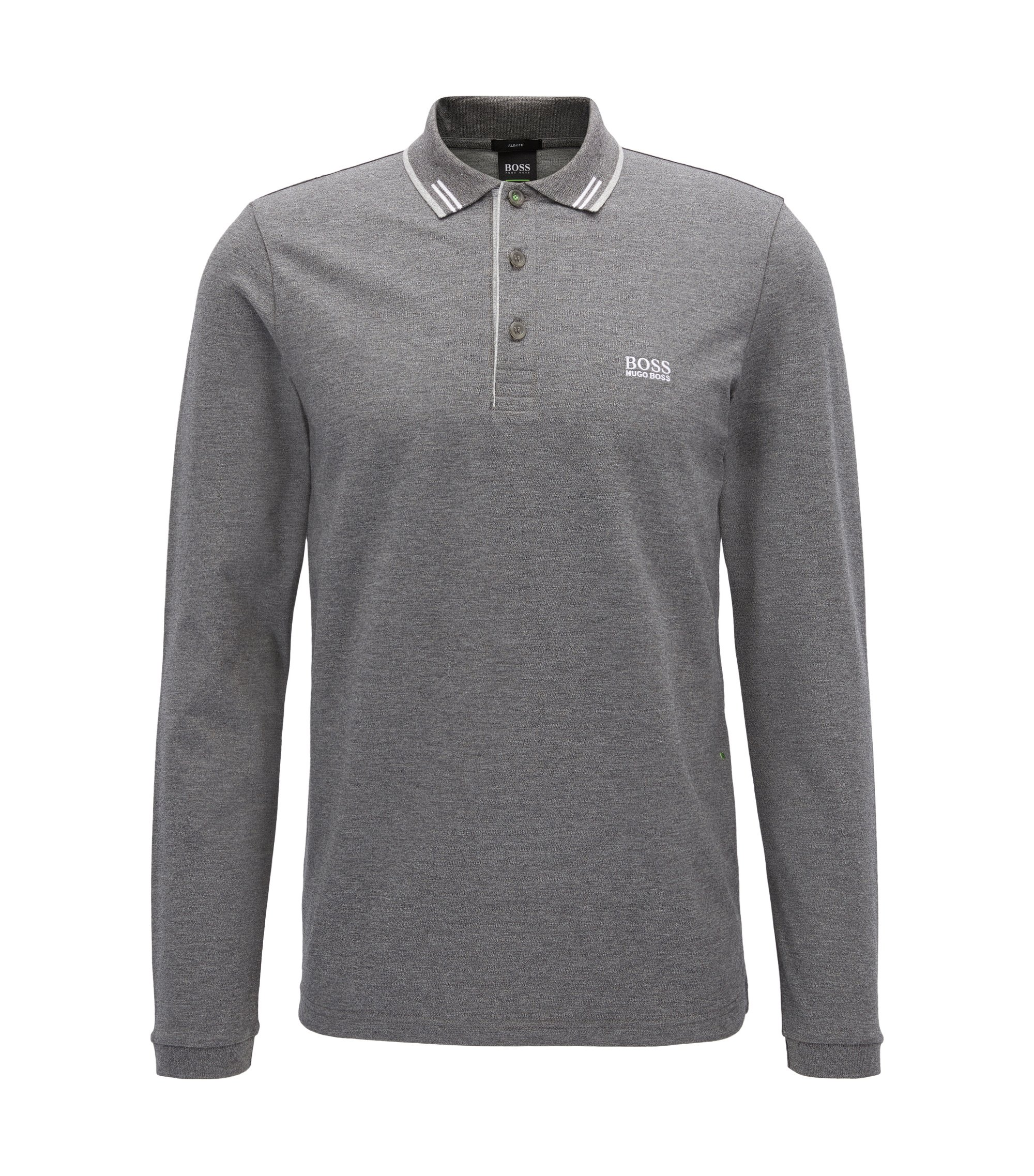 Polo Slim Fit en piqué de coton stretch, Gris