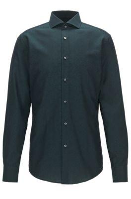 Slim-Fit Hemd aus Baumwoll-Jacquard mit Paisley-Muster, Gemustert