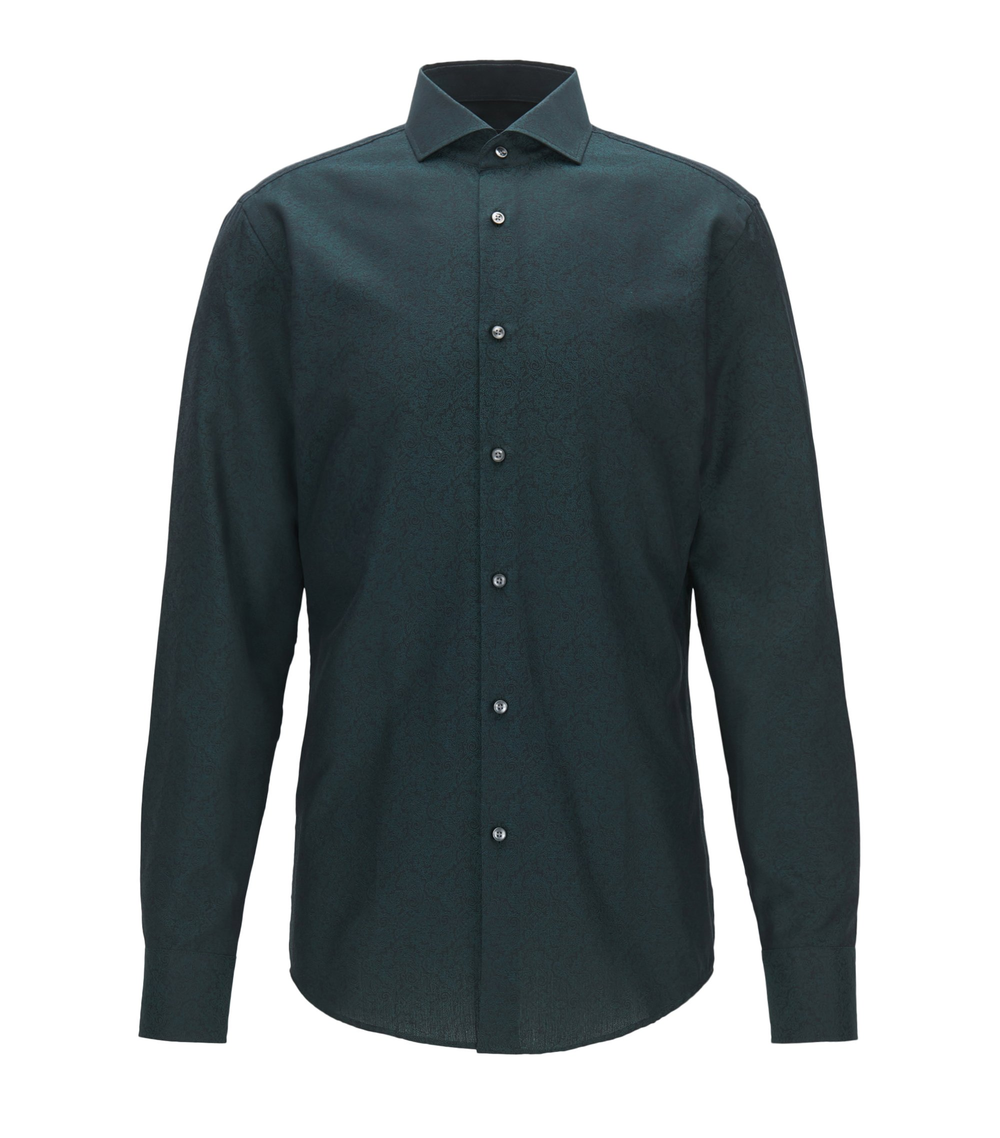 Slim-fit overhemd in katoenen jacquard met paisleydessin, Bedrukt
