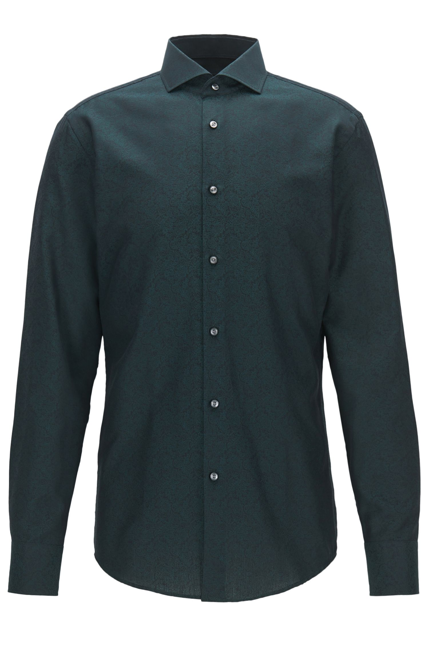 Paisley slim-fit shirt in cotton jacquard