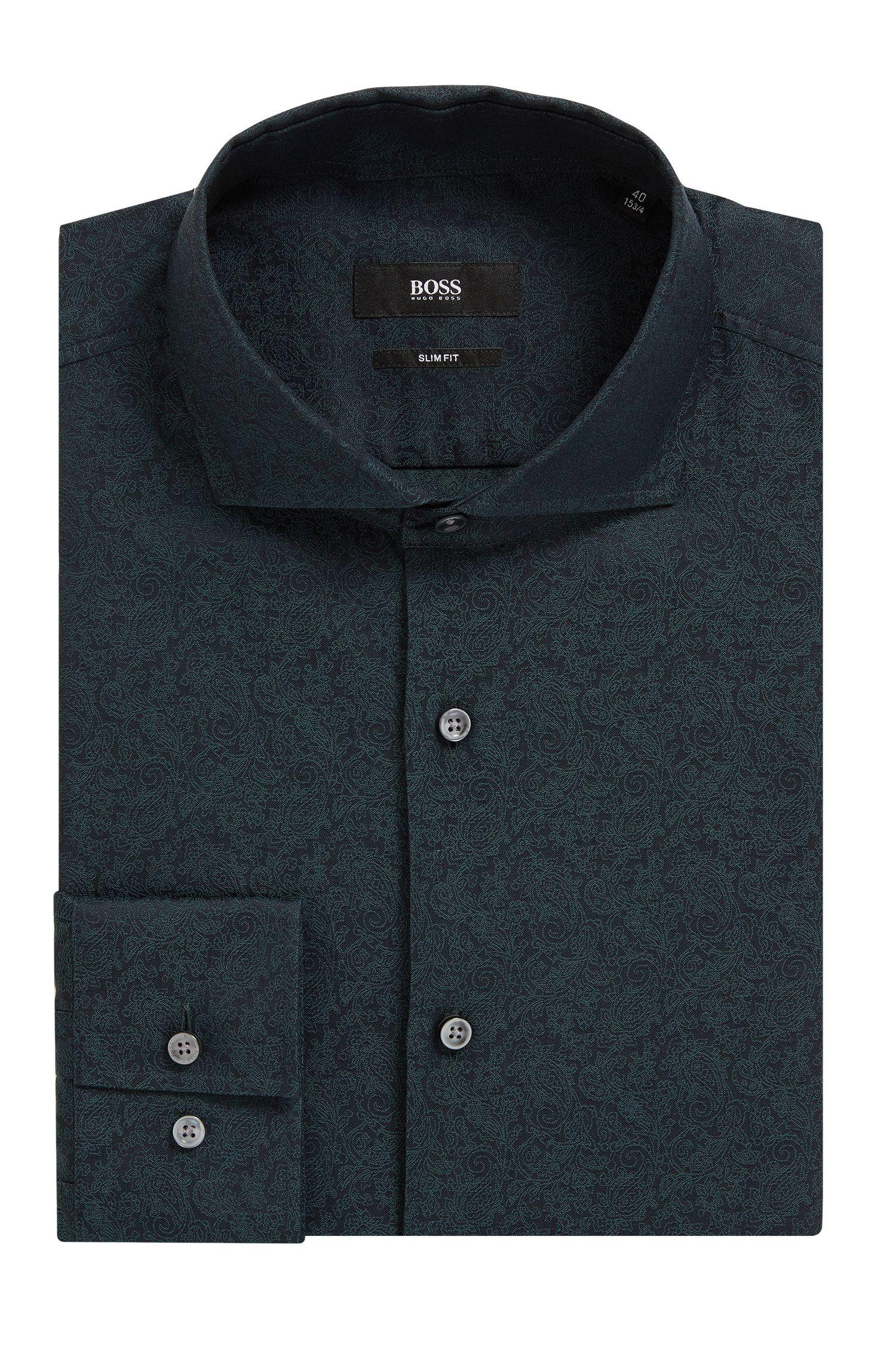 Slim-Fit Hemd aus Baumwoll-Jacquard mit Paisley-Muster