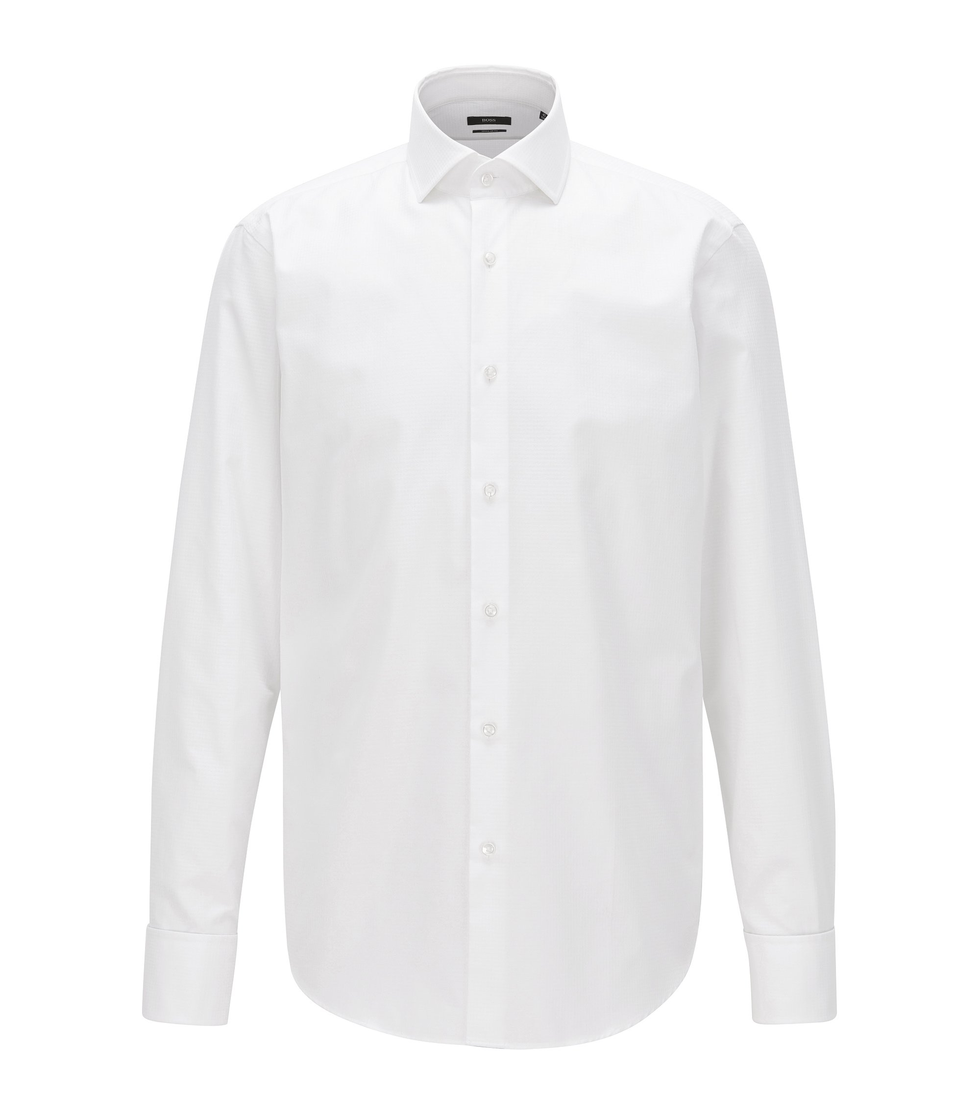 Regular-fit double-cuff shirt in Argyle cotton, White