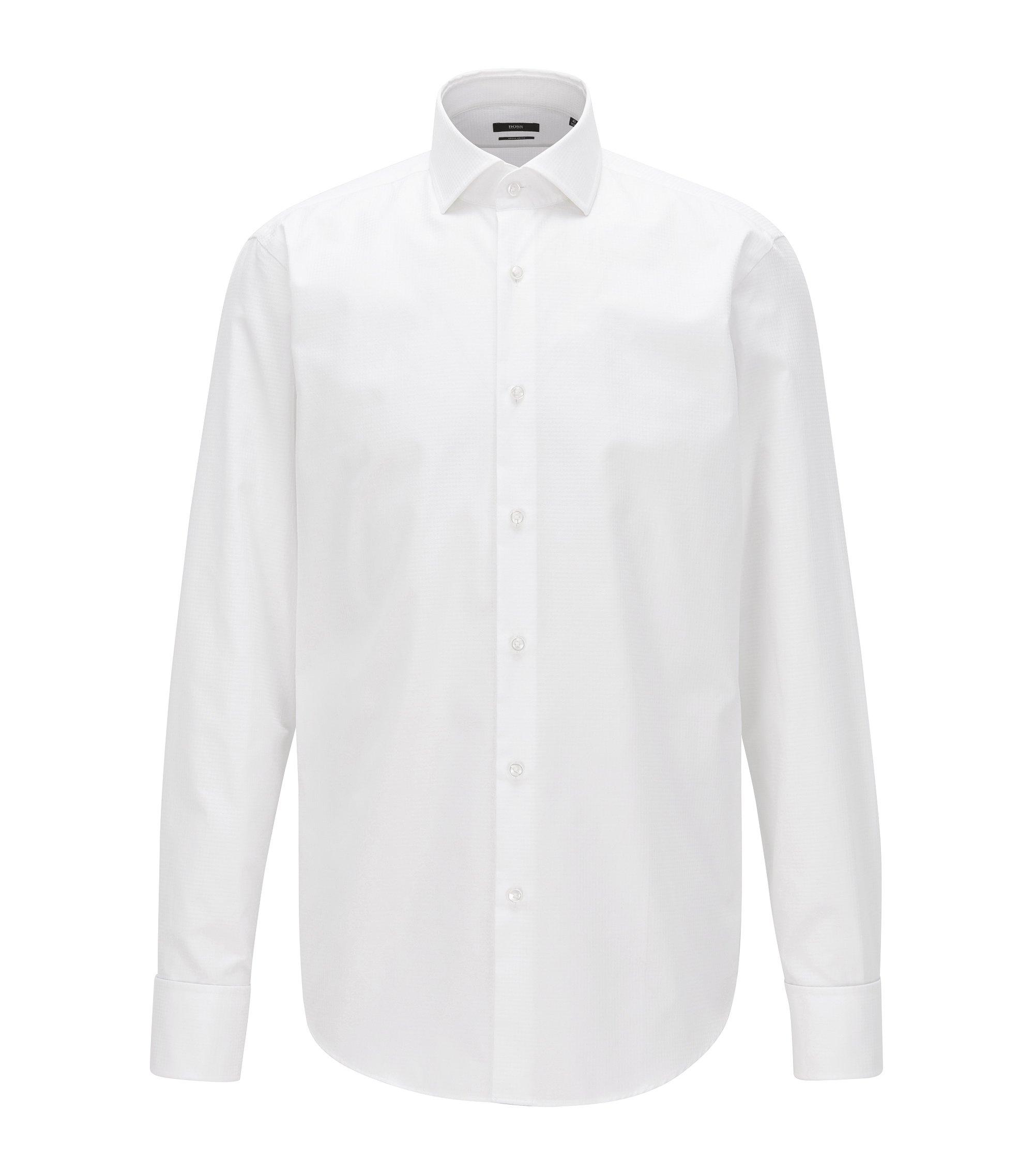 Regular-fit overhemd van argylekatoen met dubbele manchetten, Wit
